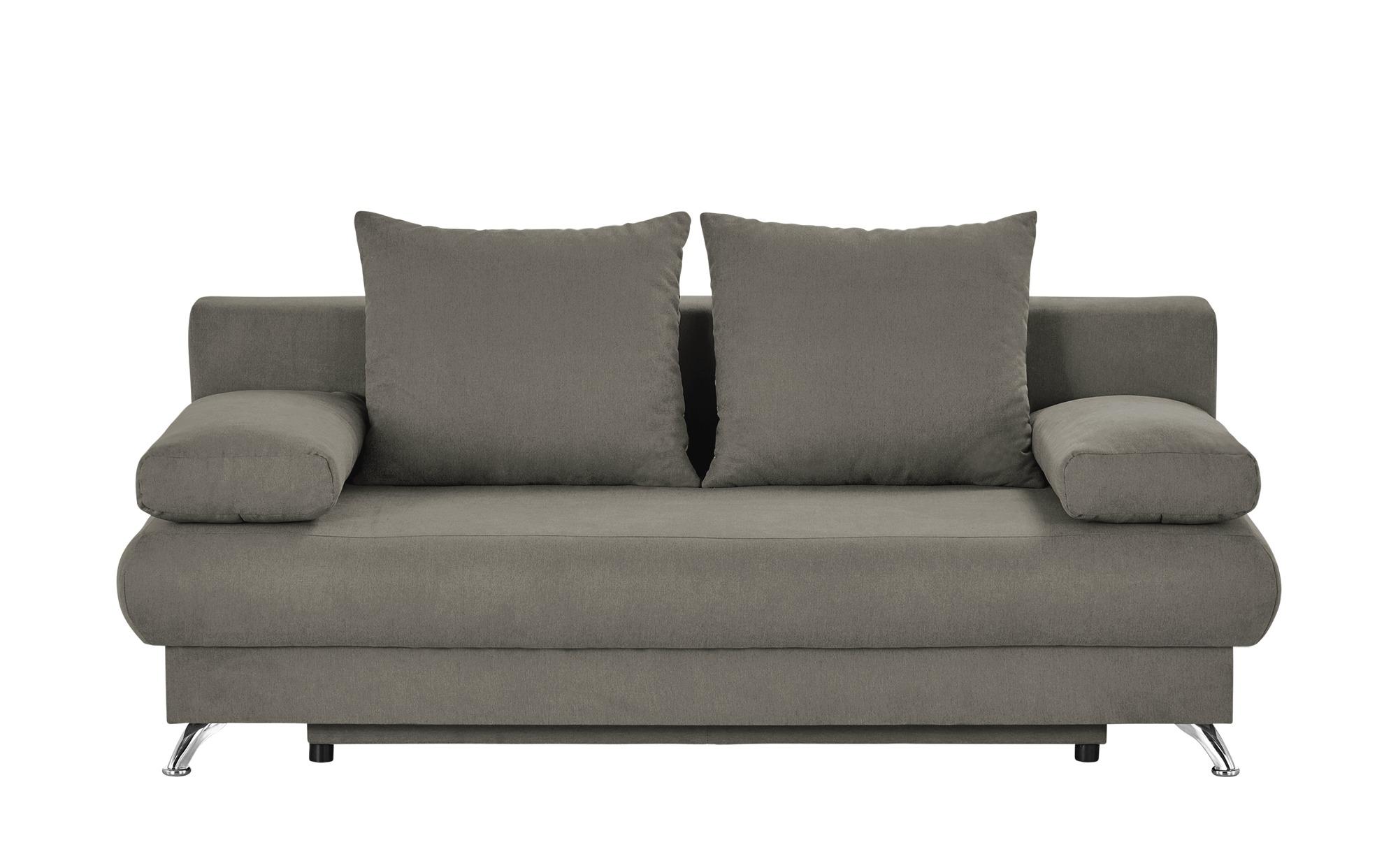 Schlafsofa grau-braun - Flachgewebe Viola ¦ grau ¦ Maße (cm): B: 203 H: 72 T: 93 Polstermöbel > Sofas > 2-Sitzer - Höffner