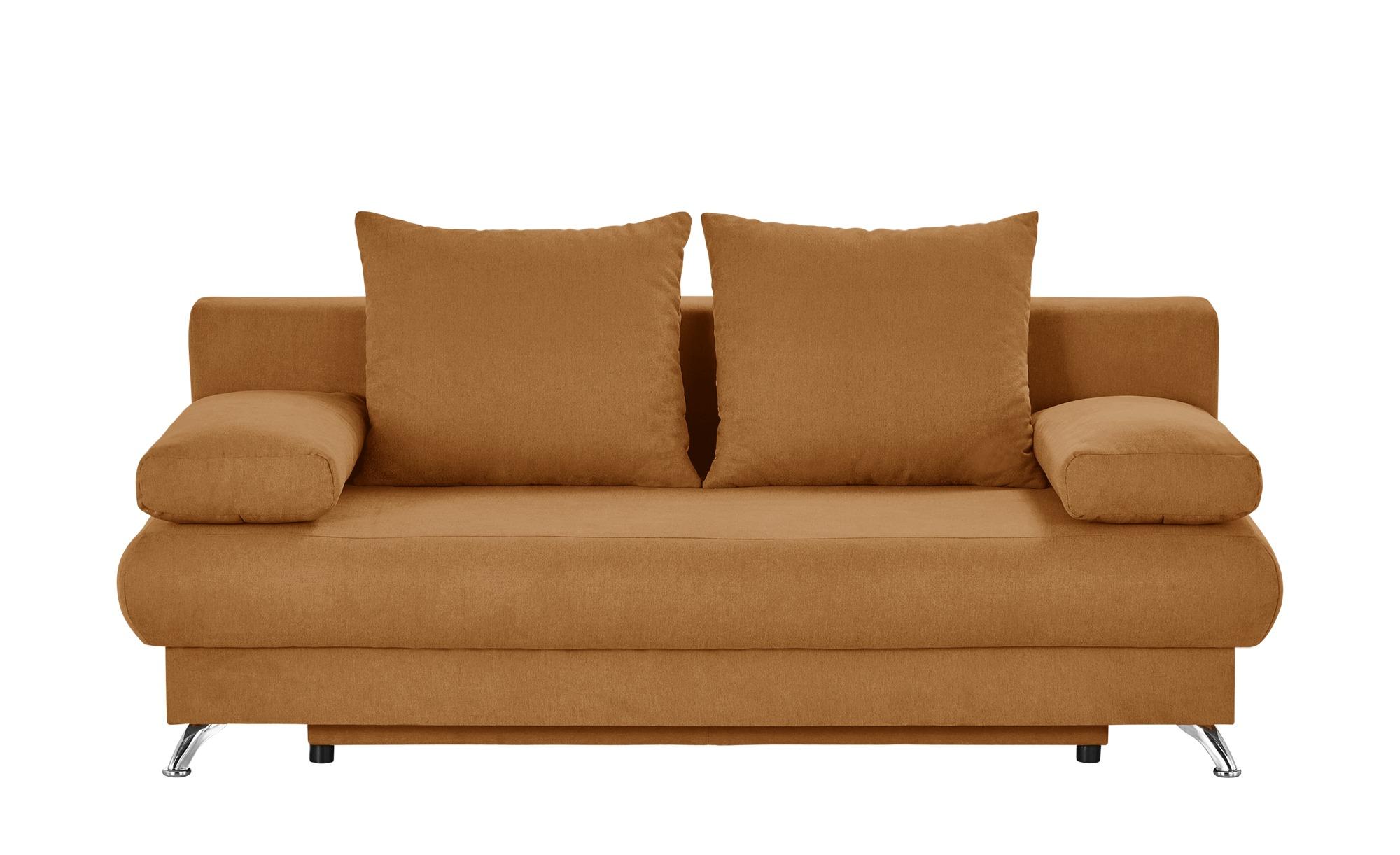 Schlafsofa ocker - Flachgewebe Viola ¦ orange ¦ Maße (cm): B: 203 H: 72 T: 93 Polstermöbel > Sofas > 2-Sitzer - Höffner