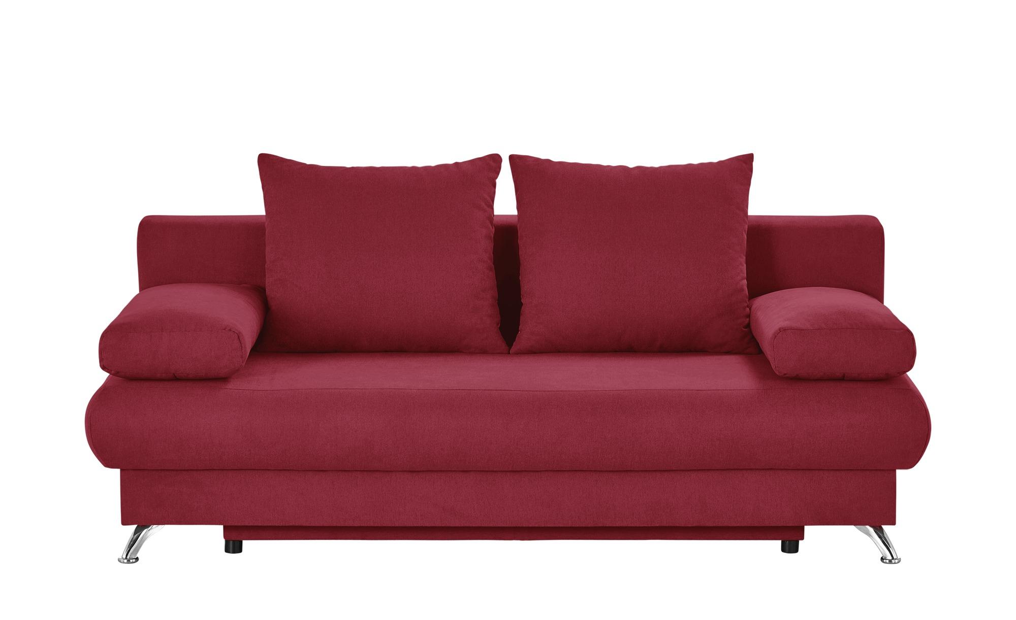 Schlafsofa rot - Flachgewebe Viola ¦ rot ¦ Maße (cm): B: 203 H: 72 T: 93 Polstermöbel > Sofas > 2-Sitzer - Höffner