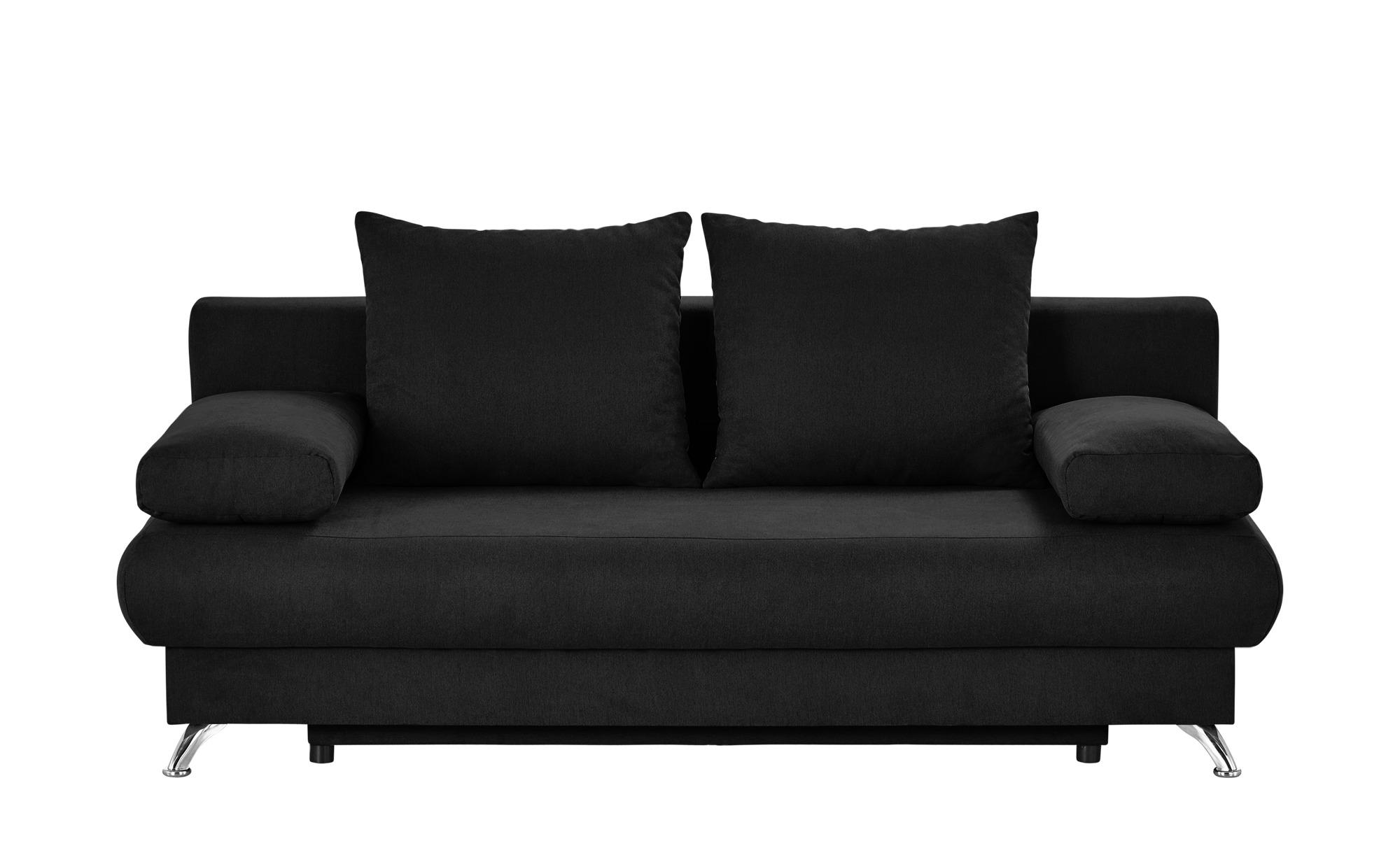 Schlafsofa schwarz - Flachgewebe Viola ¦ schwarz ¦ Maße (cm): B: 203 H: 72 T: 93 Polstermöbel > Sofas > 2-Sitzer - Höffner
