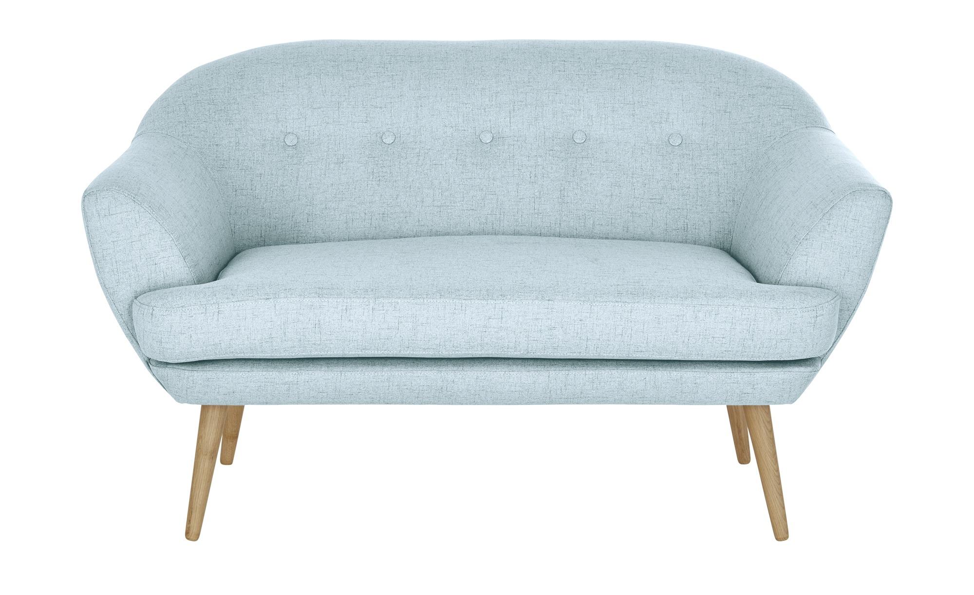 finya Sofa hellblau - Webstoff Elsa ¦ blau ¦ Maße (cm): B: 135 H: 77 T: 88 Polstermöbel > Sofas > 2-Sitzer - Höffner