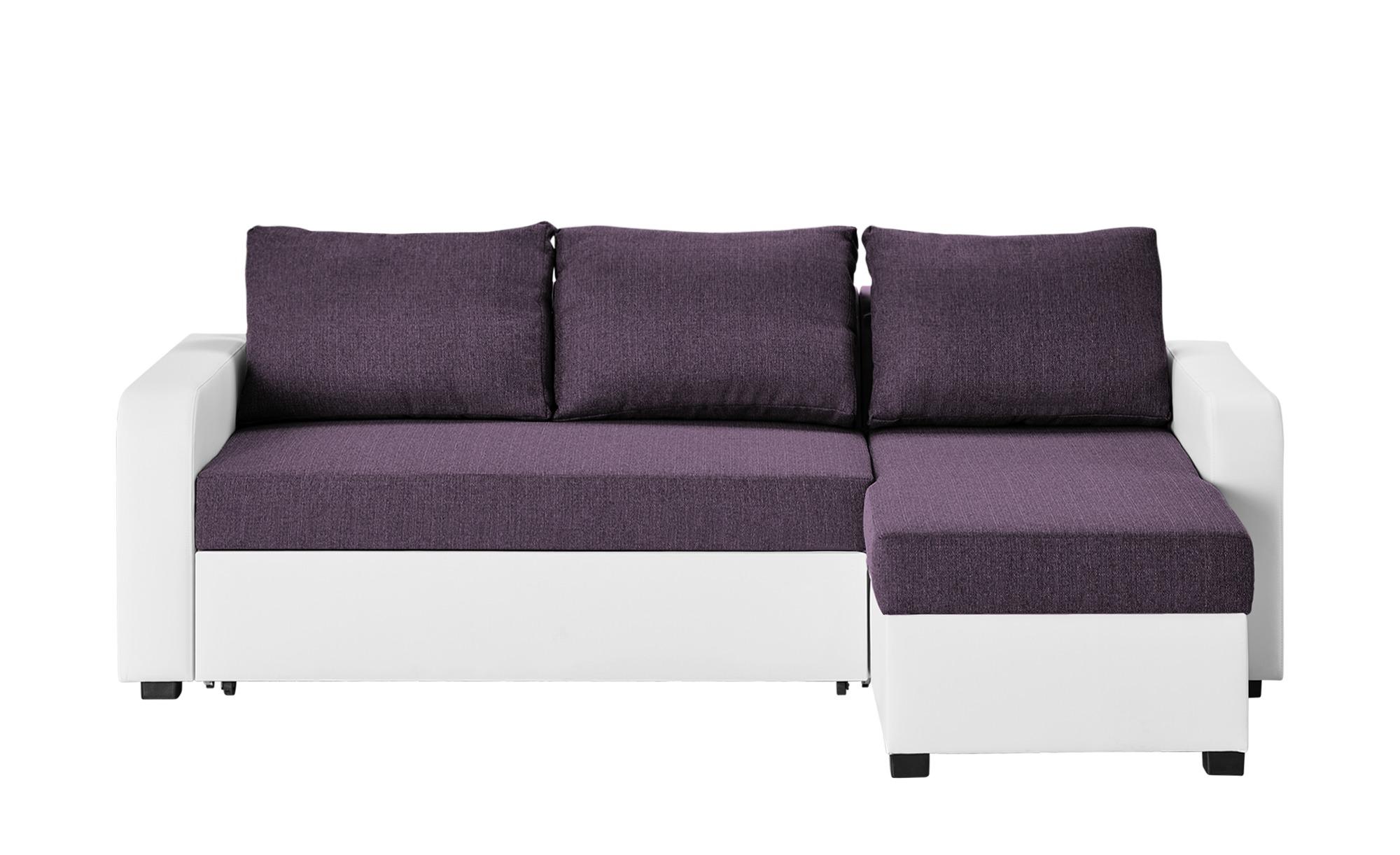 Ecksofa lila/weiß - Kunstleder/Webstoff Cassy ¦ lila/violett ¦ Maße (cm): B: 225 H: 83 T: 152 Polstermöbel > Sofas > Ecksofas - Höffner
