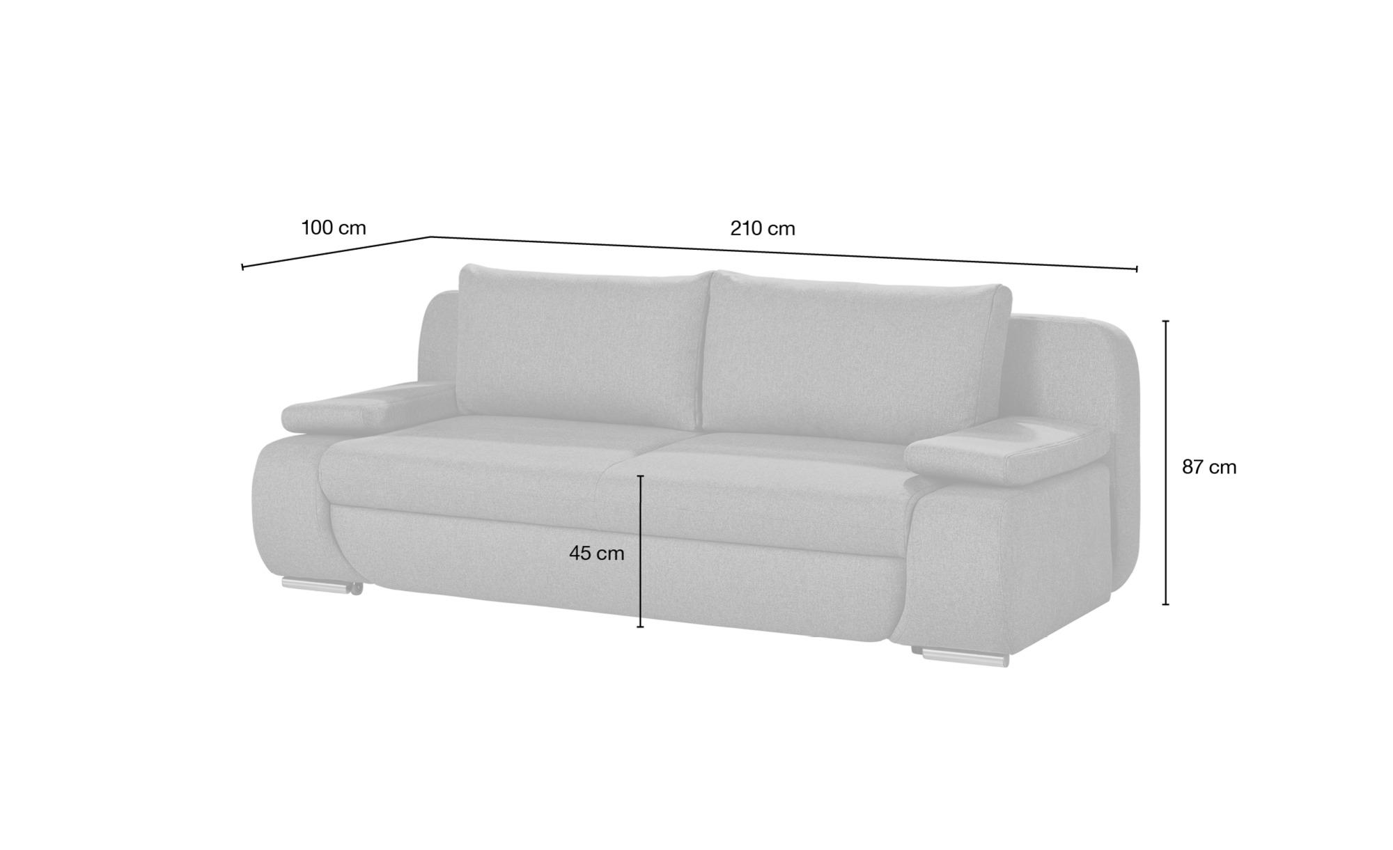 smart Schlafsofa grau - Webstoff Bonita ¦ grau ¦ Maße (cm): B: 210 H: 87 T: 100 Polstermöbel > Sofas > 2-Sitzer - Höffner