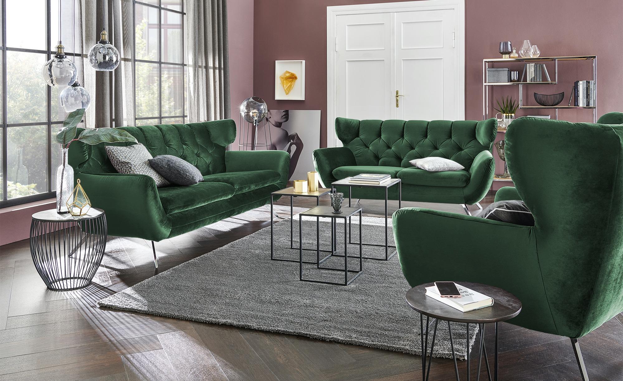 Sofa  Caldara ¦ grün ¦ Maße (cm): B: 225 H: 94 T: 95 Polstermöbel > Sofas > 3-Sitzer - Höffner