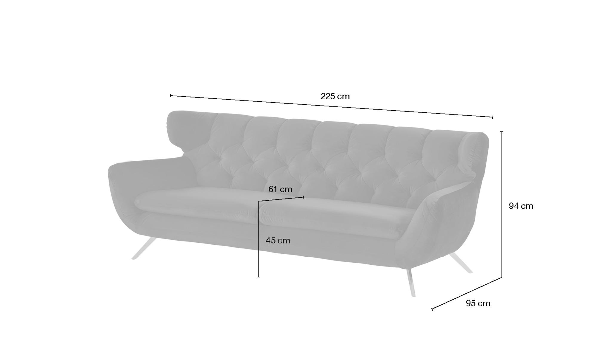 Sofa  Caldara ¦ grau ¦ Maße (cm): B: 225 H: 94 T: 95 Polstermöbel > Sofas > 3-Sitzer - Höffner