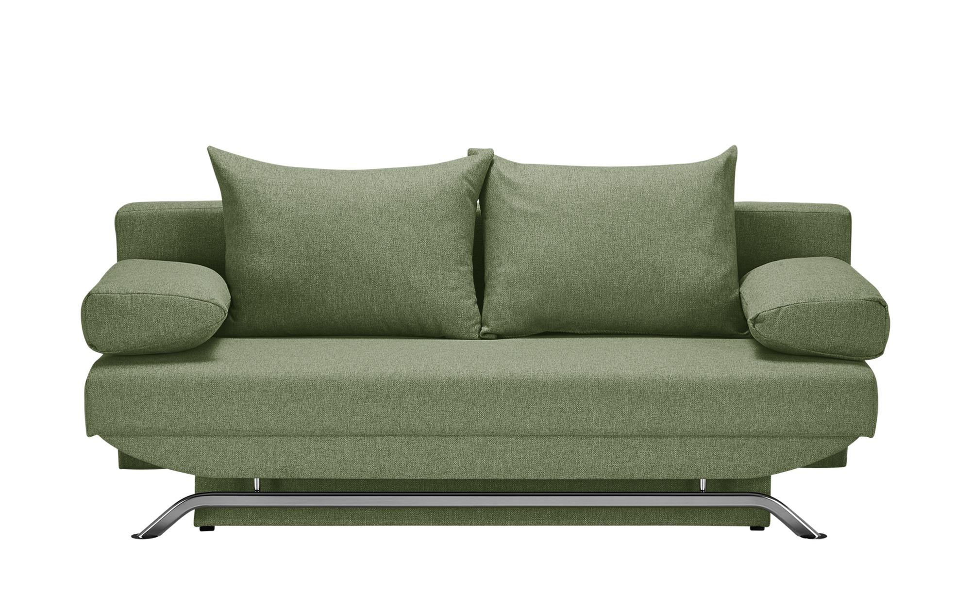 smart Schlafsofa grün - Flachgewebe Grit ¦ grün ¦ Maße (cm): B: 195 H: 76 T: 91 Polstermöbel > Sofas > Einzelsofas - Höffner