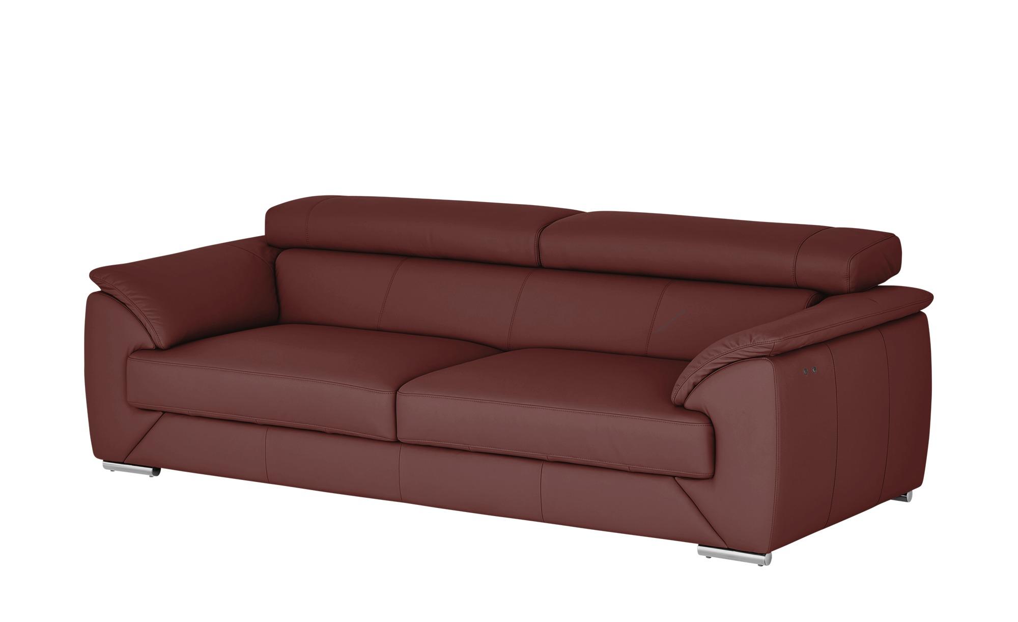 Ledersofa  Oscar ¦ rot ¦ Maße (cm): B: 232 H: 76 T: 100 Polstermöbel > Sofas > 3-Sitzer - Höffner