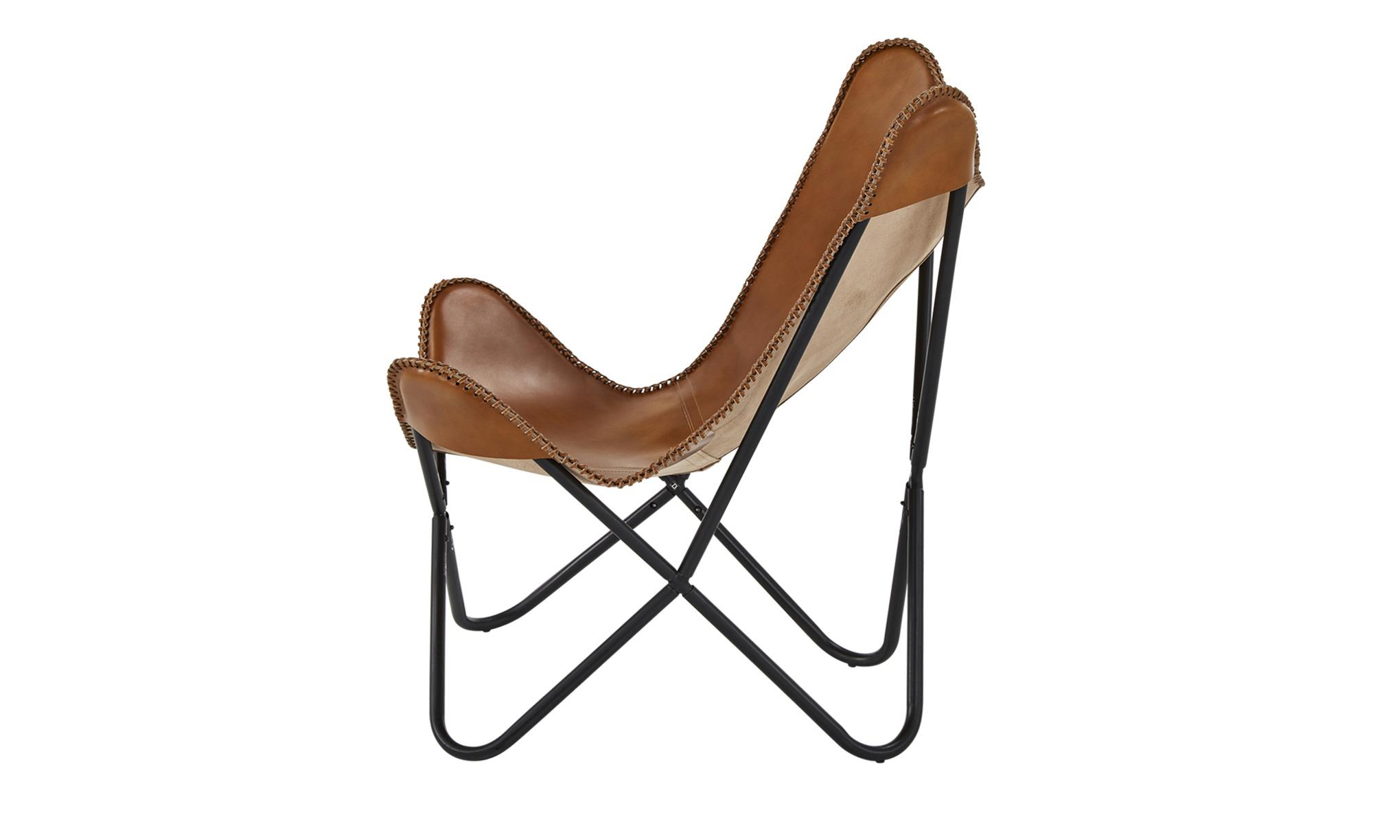 Schmetterlingssessel  Tristan ¦ braun ¦ Maße (cm): B: 76 H: 90 T: 68 Polstermöbel > Sessel > Ledersessel - Höffner