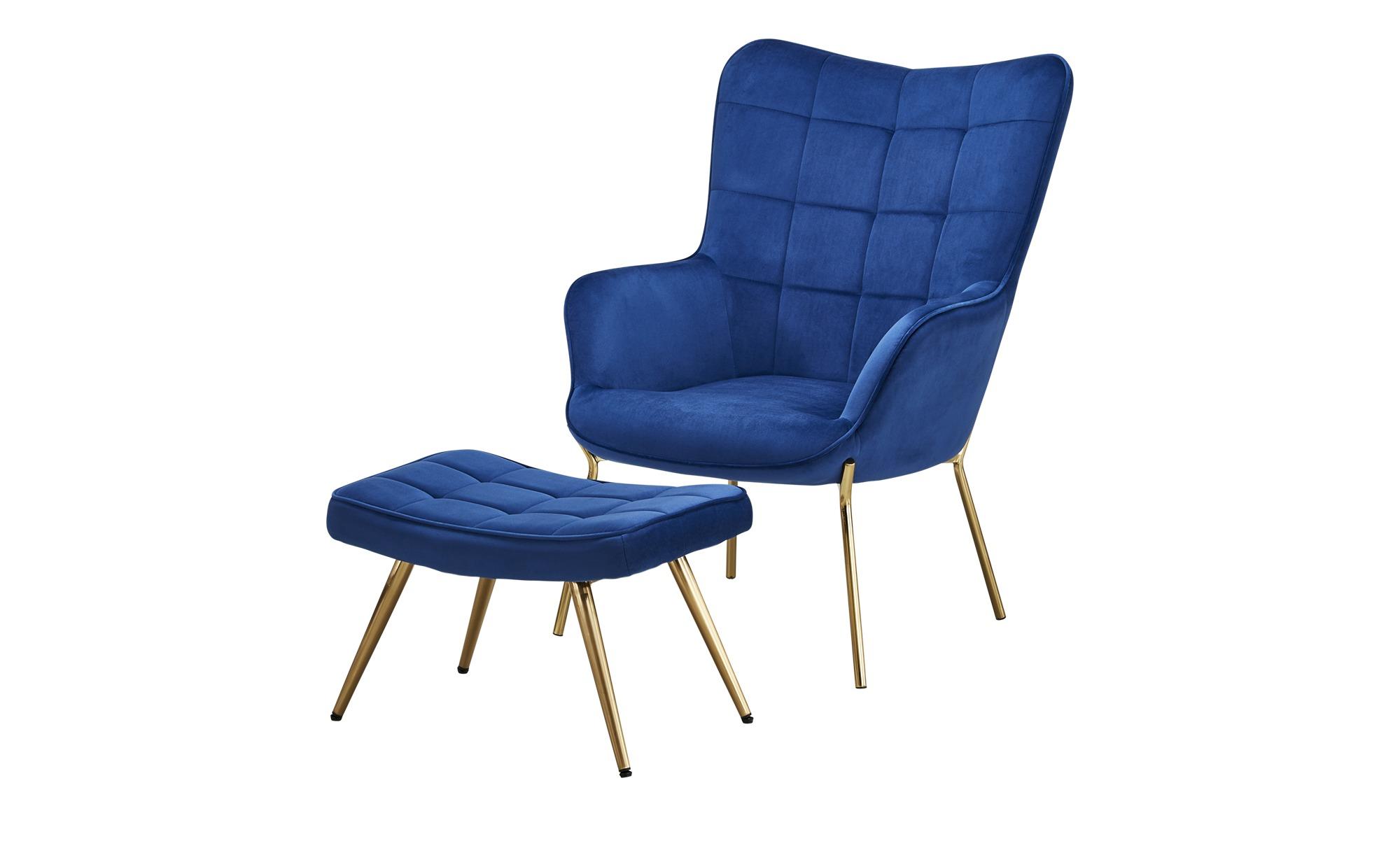 Sessel mit Hocker  Annika ¦ blau Polstermöbel > Sessel > Polstersessel - Höffner