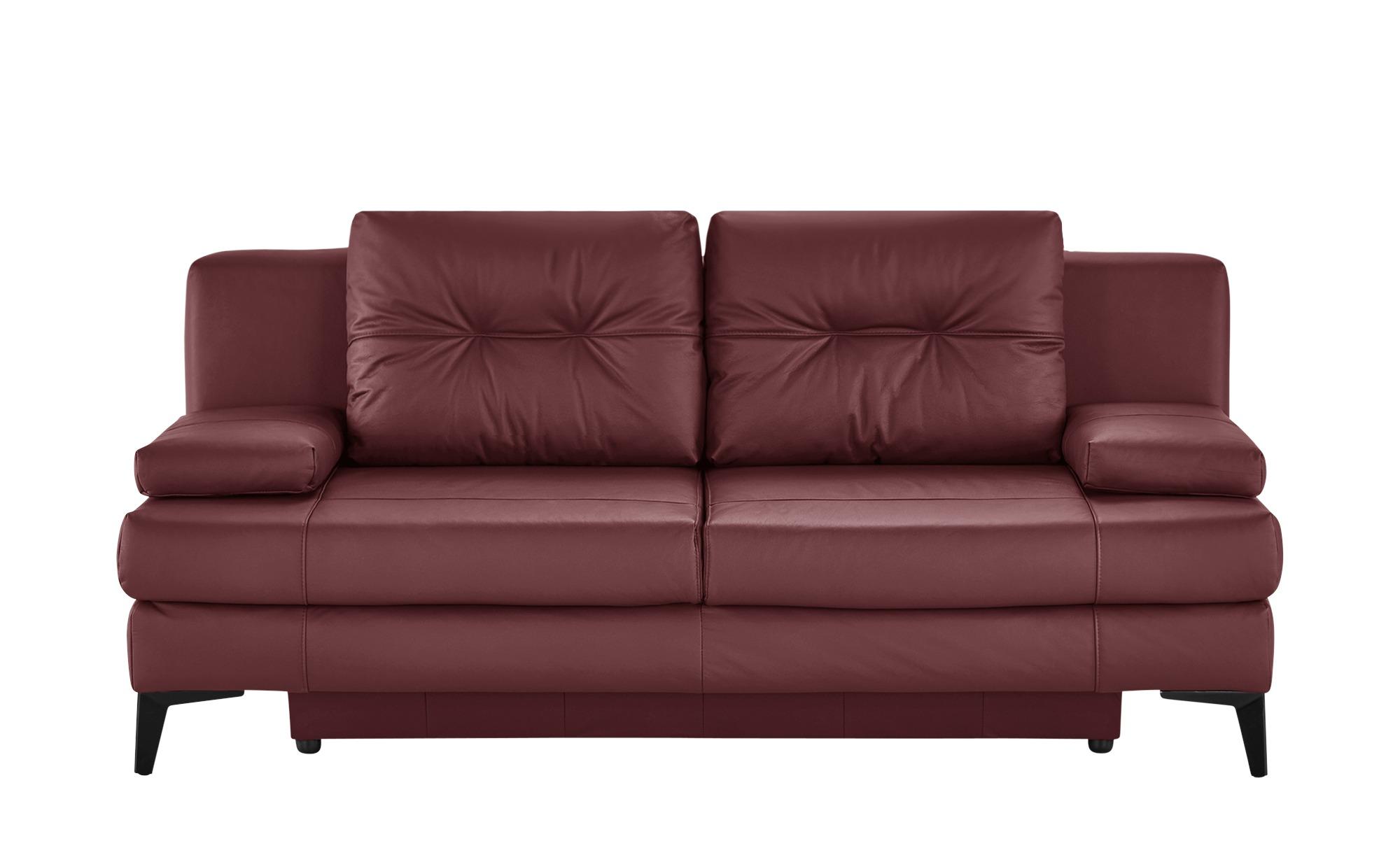 Ledersofa  Svea ¦ rot ¦ Maße (cm): B: 202 H: 92 T: 100 Polstermöbel > Sofas > 2-Sitzer - Höffner