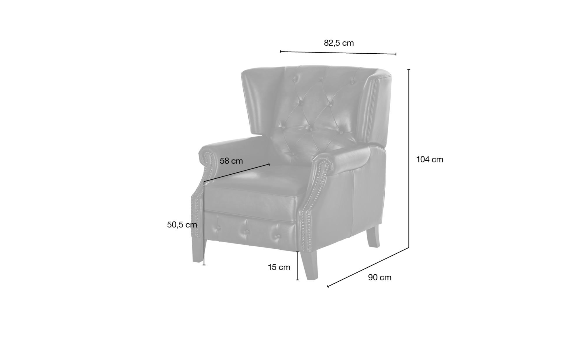 uno Relaxsessel aus Leder  Chesterfield ¦ braun ¦ Maße (cm): B: 82,5 H: 104 T: 90 Polstermöbel > Sessel > Fernsehsessel - Höffner