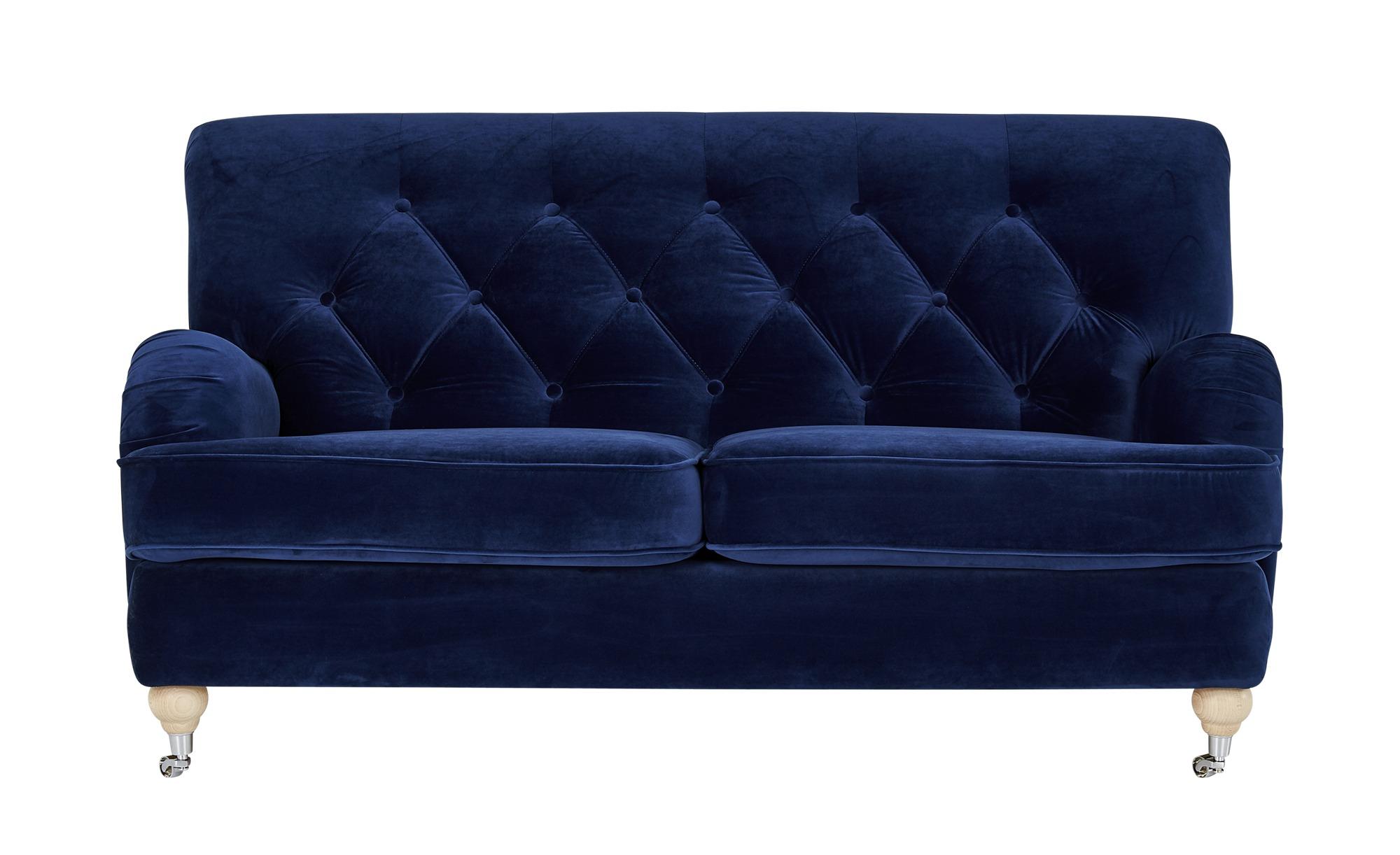 finya Sofa Samt Silva ¦ blau ¦ Maße (cm): B: 162 H: 87 T: 104 Polstermöbel > Sofas > 2-Sitzer - Höffner