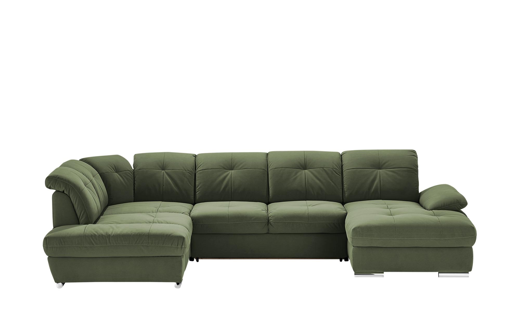 Wohnlandschaft  Gladys ¦ grün ¦ Maße (cm): B: 377 T: 197 Polstermöbel > Sofas > Schlafsofas - Höffner