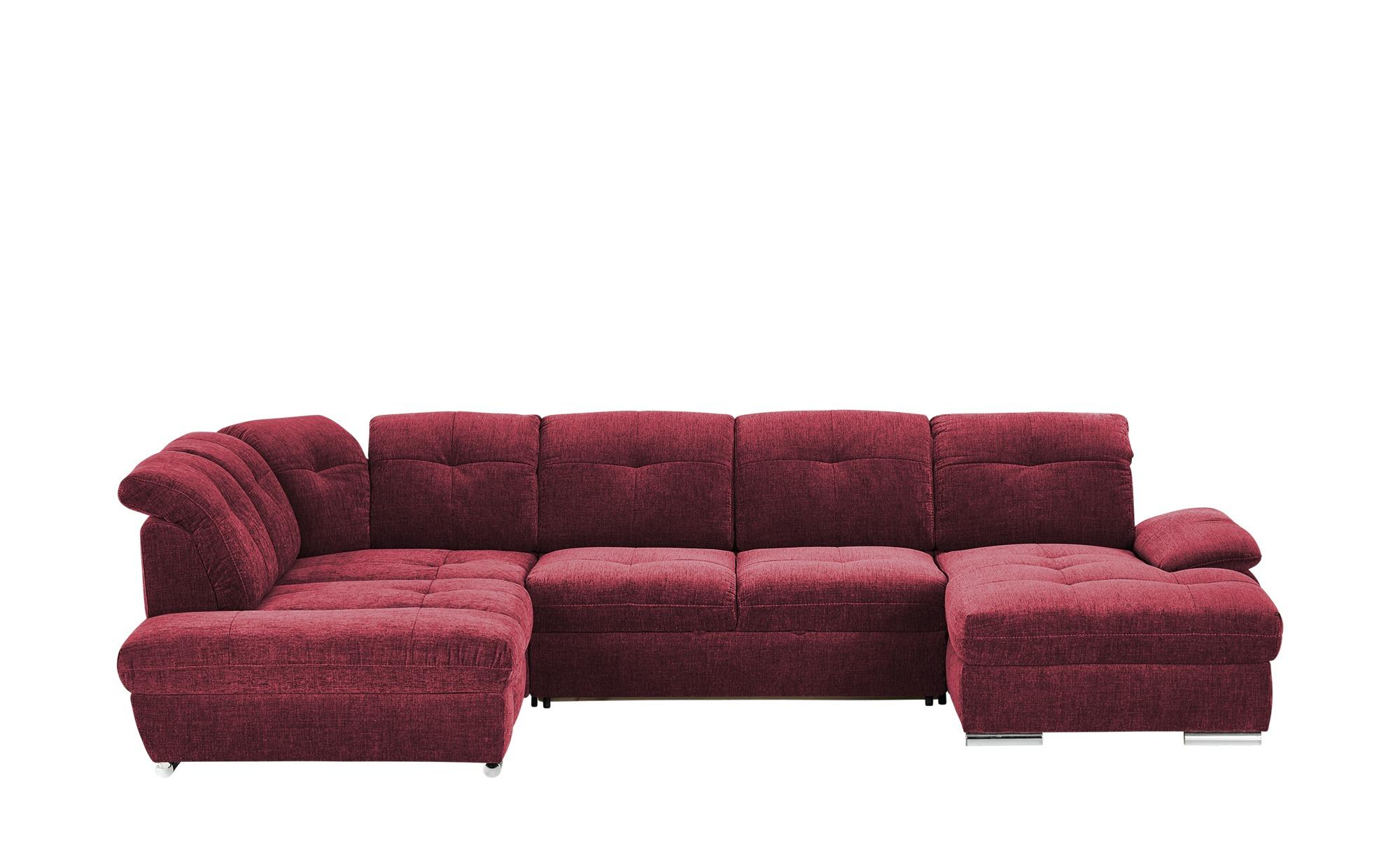 Wohnlandschaft  Gladys ¦ rot ¦ Maße (cm): B: 377 T: 197 Polstermöbel > Sofas > Schlafsofas - Höffner
