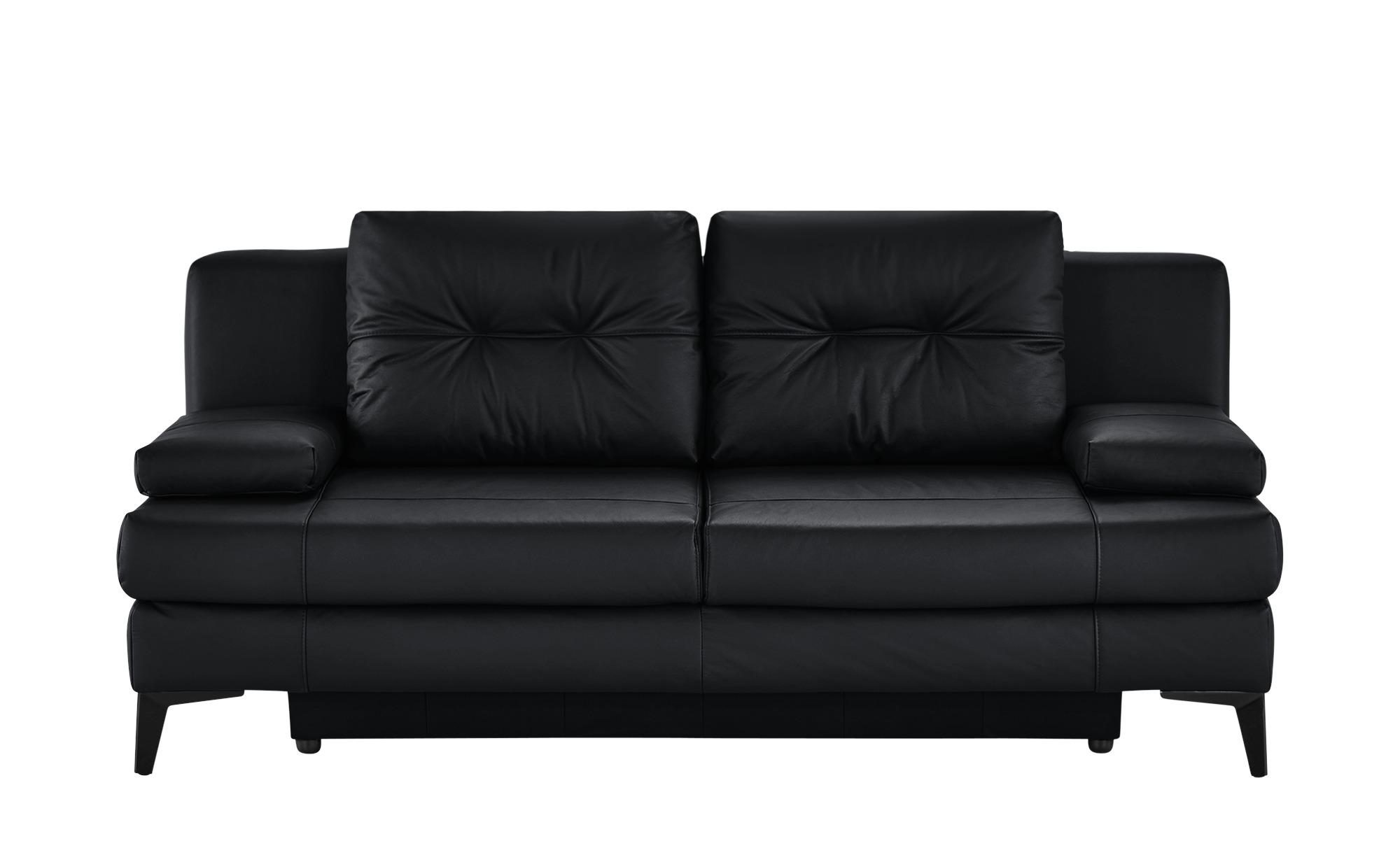 Ledersofa  Svea ¦ schwarz ¦ Maße (cm): B: 202 H: 92 T: 100 Polstermöbel > Sofas > 2-Sitzer - Höffner