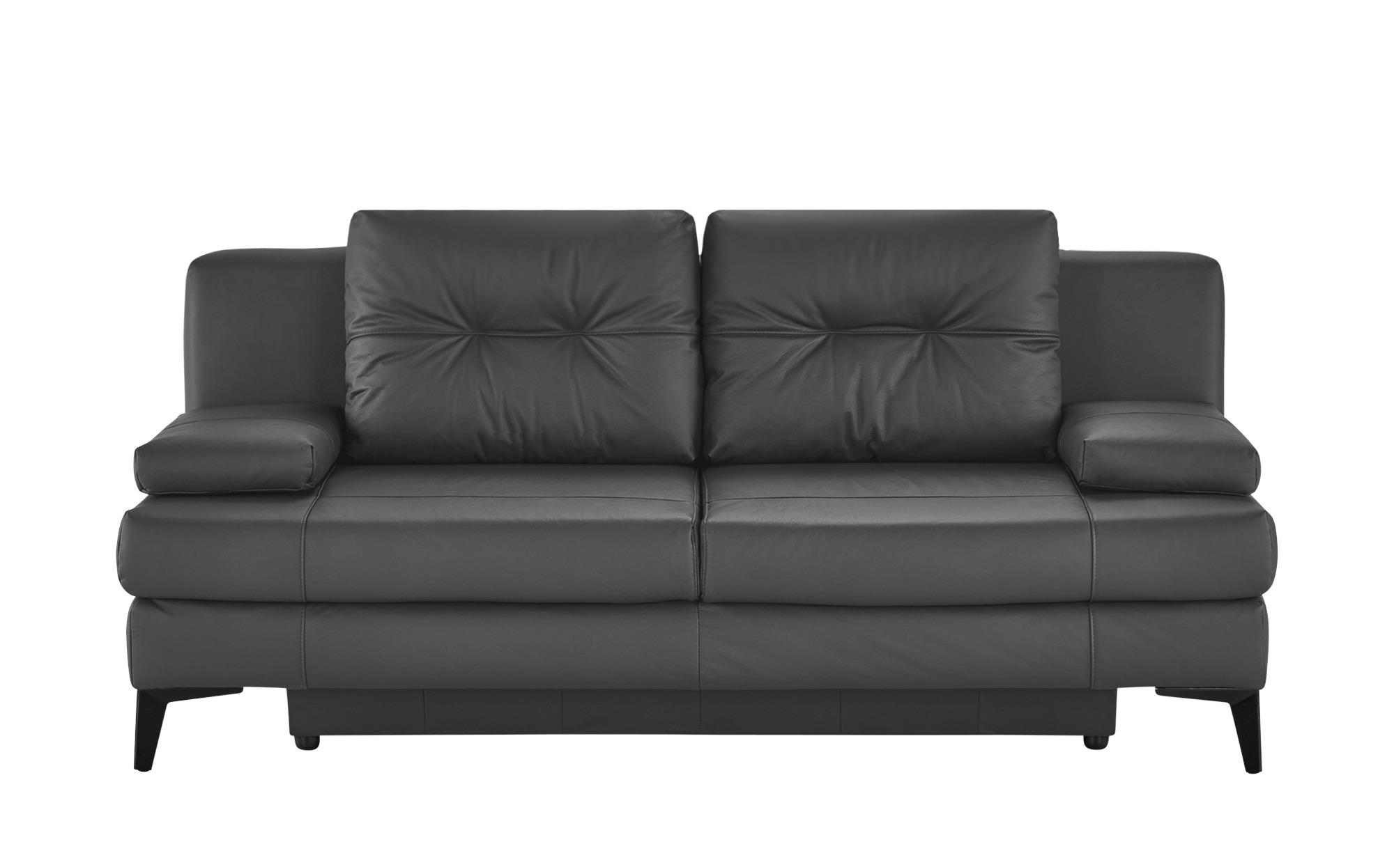 Ledersofa  Svea ¦ grau ¦ Maße (cm): B: 202 H: 92 T: 100 Polstermöbel > Sofas > 2-Sitzer - Höffner