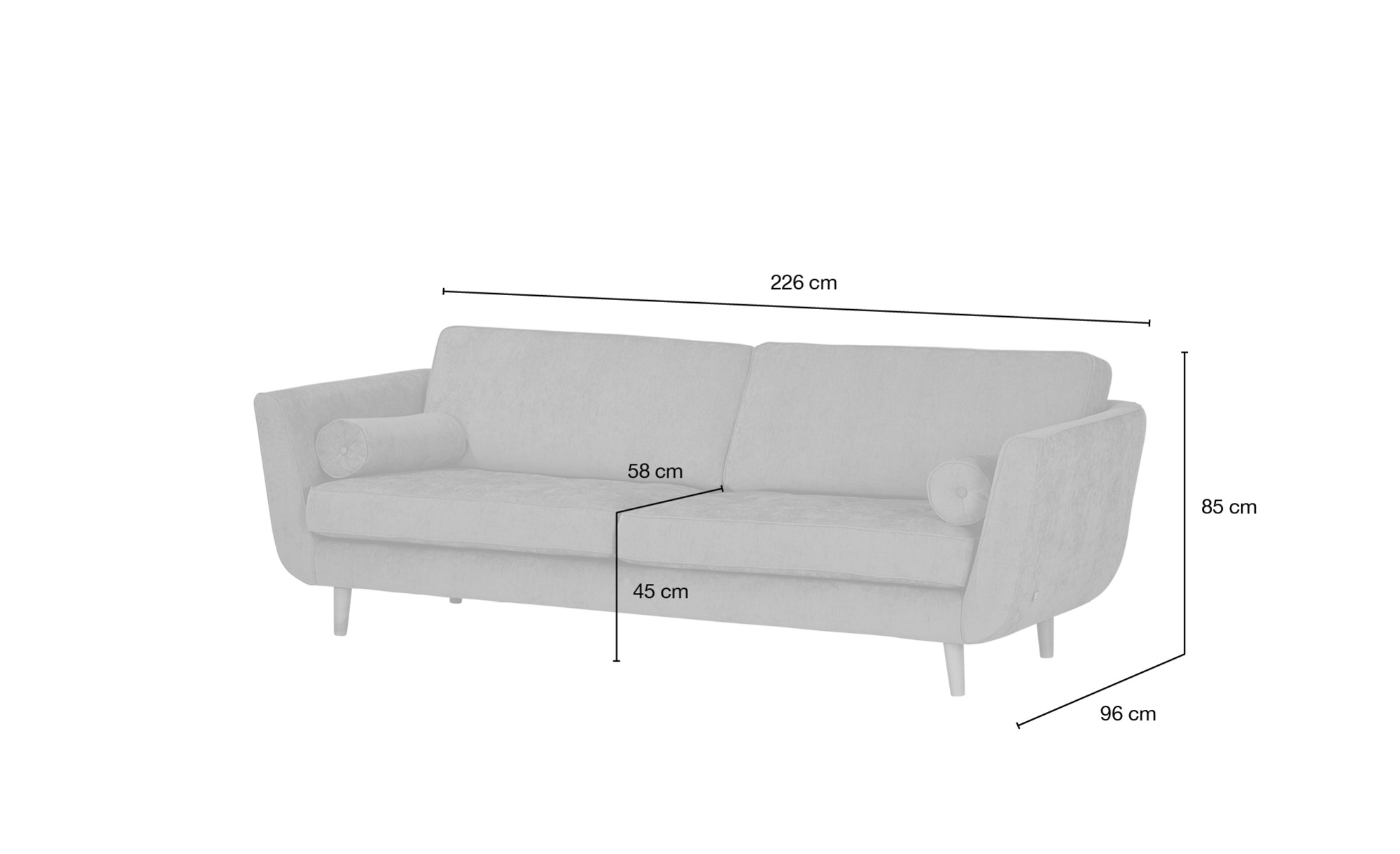 SOHO Sofa 3-sitzig  Zehra ¦ grau ¦ Maße (cm): B: 226 H: 85 T: 96 Polstermöbel > Sofas > 3-Sitzer - Höffner
