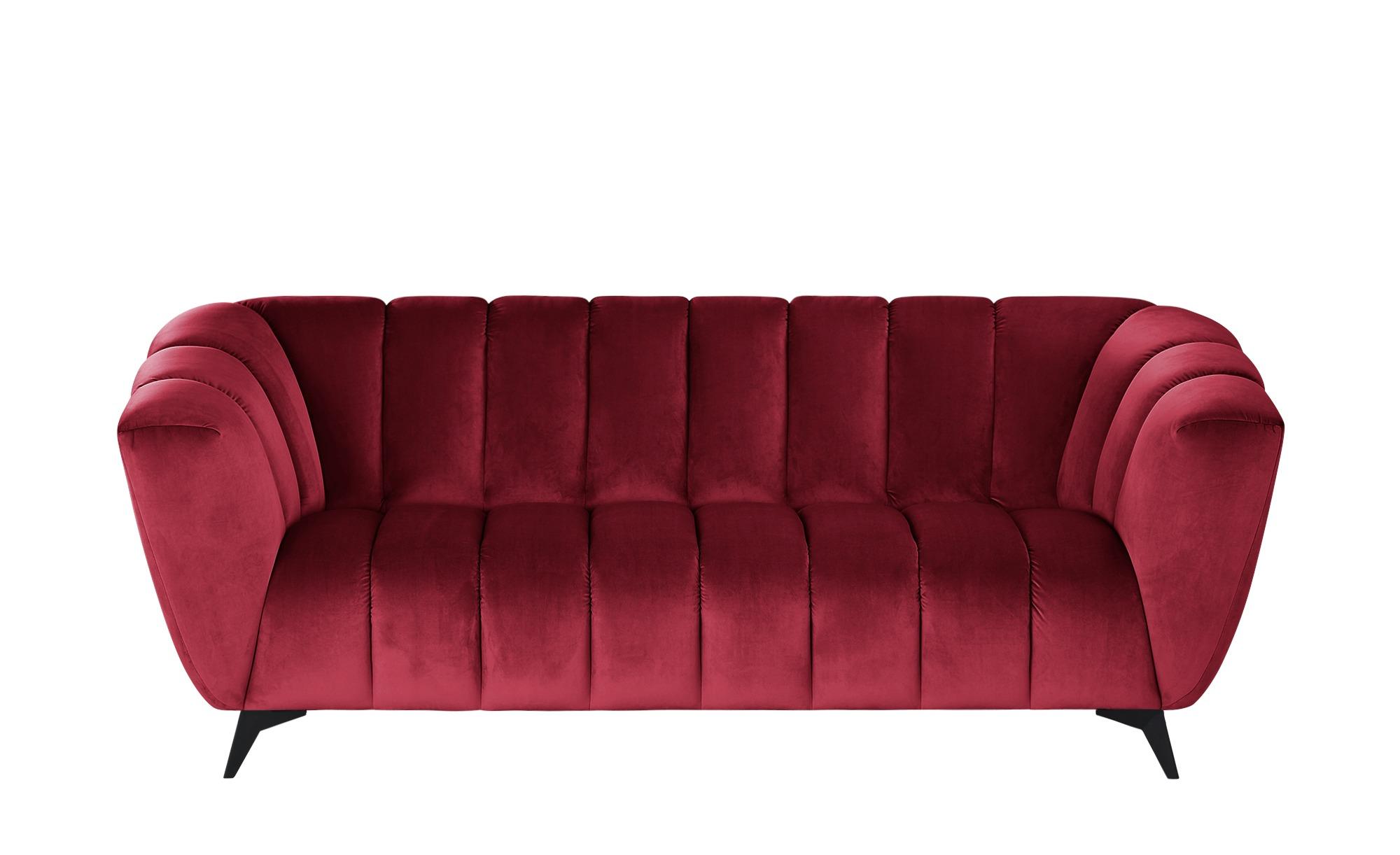 Sofa  Samantha ¦ rot ¦ Maße (cm): B: 220 H: 86 T: 100 Polstermöbel > Sofas > 3-Sitzer - Höffner