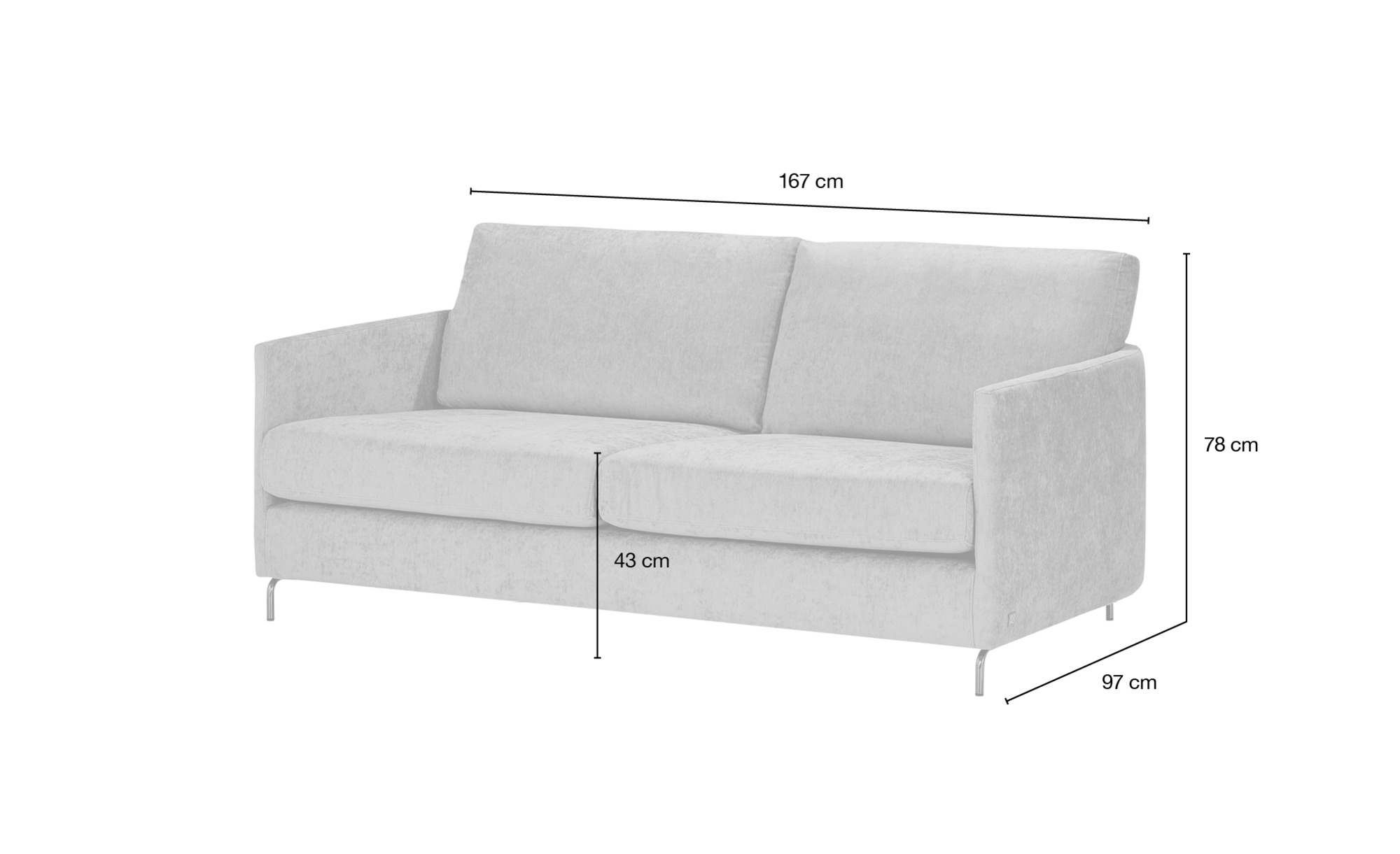 SOHO Sofa  Harriet Day ¦ grau ¦ Maße (cm): B: 167 H: 78 T: 97 Polstermöbel > Sofas > 2-Sitzer - Höffner