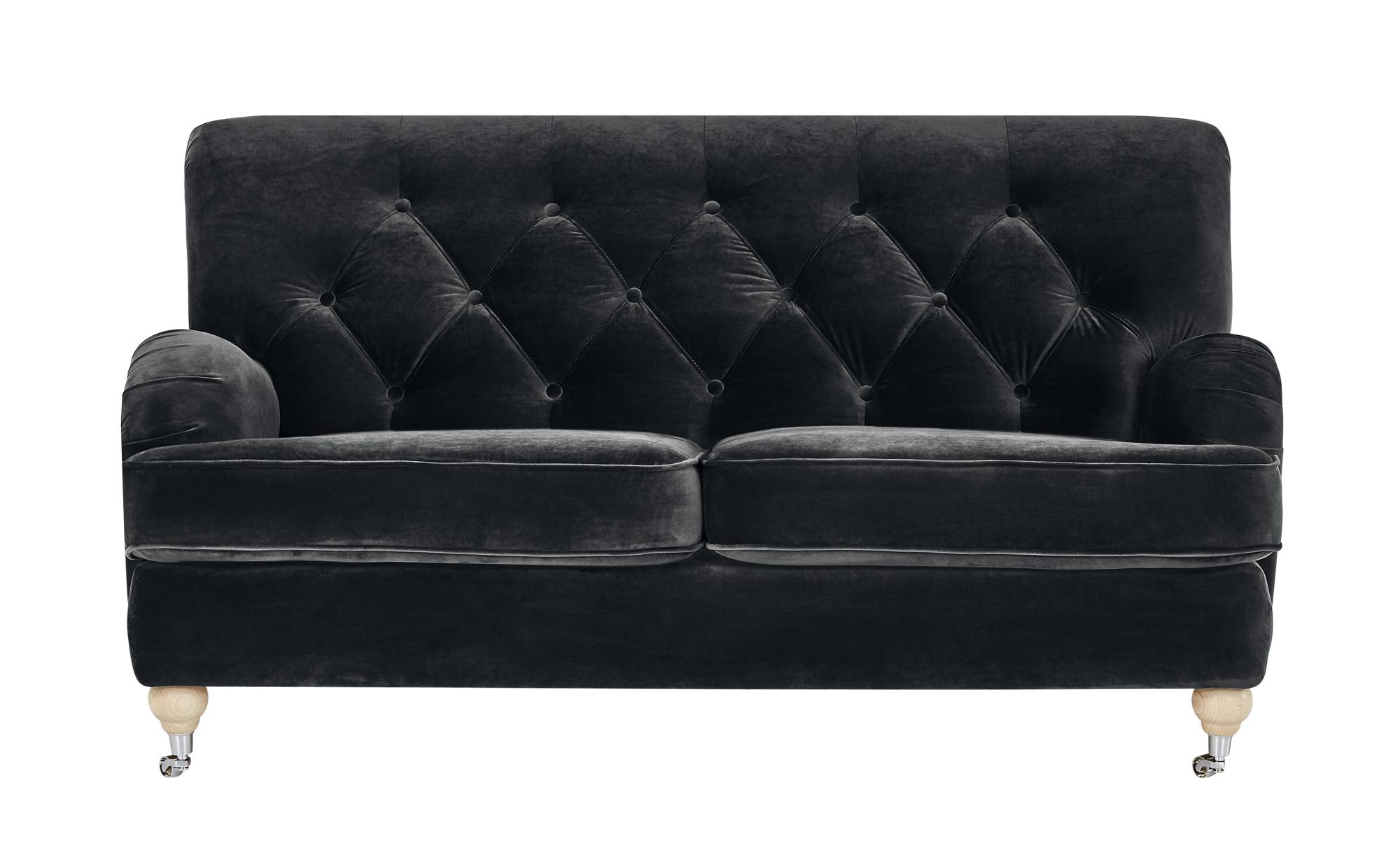 finya Sofa Samt Silva ¦ schwarz ¦ Maße (cm): B: 162 H: 87 T: 104 Polstermöbel > Sofas > 2-Sitzer - Höffner