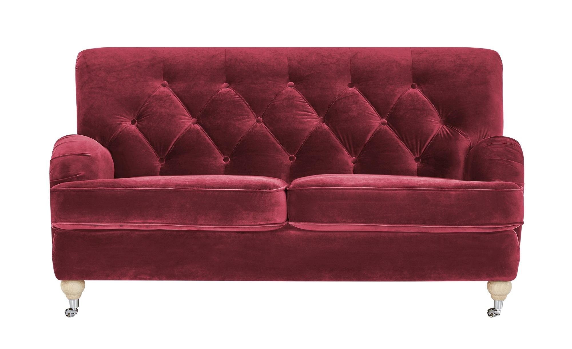 finya Sofa Samt Silva ¦ rot ¦ Maße (cm): B: 162 H: 87 T: 104 Polstermöbel > Sofas > 2-Sitzer - Höffner