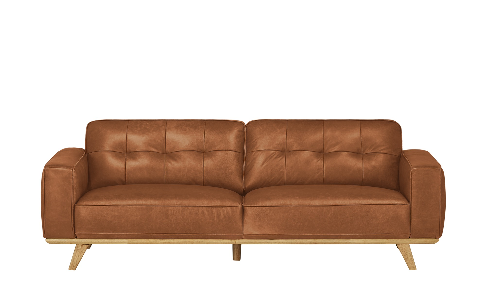 uno Ledersofa  Caralina ¦ orange ¦ Maße (cm): B: 227 H: 78 T: 95 Polstermöbel > Sofas > 3-Sitzer - Höffner