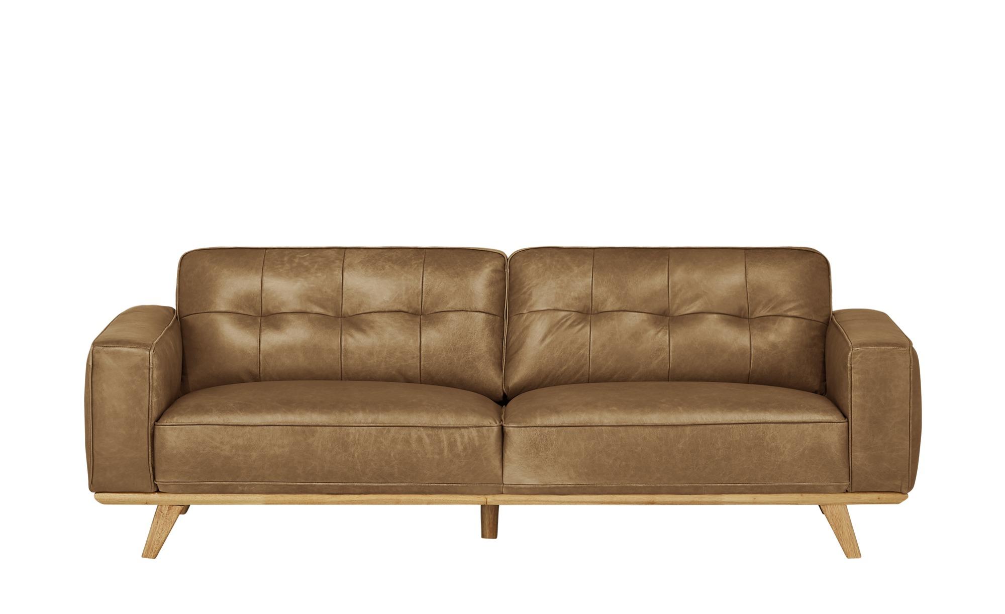 uno Ledersofa  Caralina ¦ braun ¦ Maße (cm): B: 227 H: 78 T: 95 Polstermöbel > Sofas > 3-Sitzer - Höffner