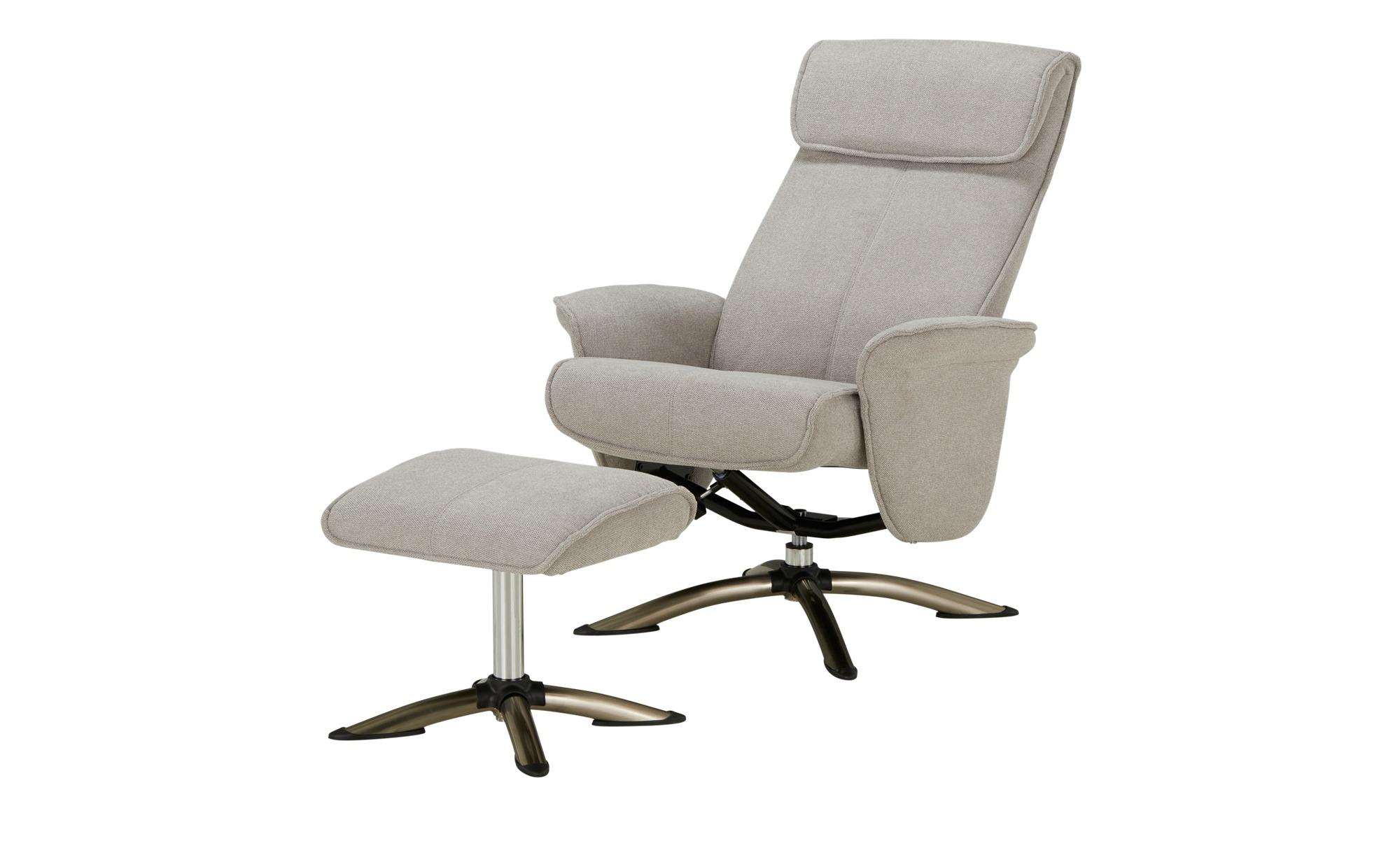 Fernsehsessel mit Hocker  Babette ¦ grau ¦ Maße (cm): B: 76 H: 105 T: 81 Polstermöbel > Sessel > Polstersessel - Höffner