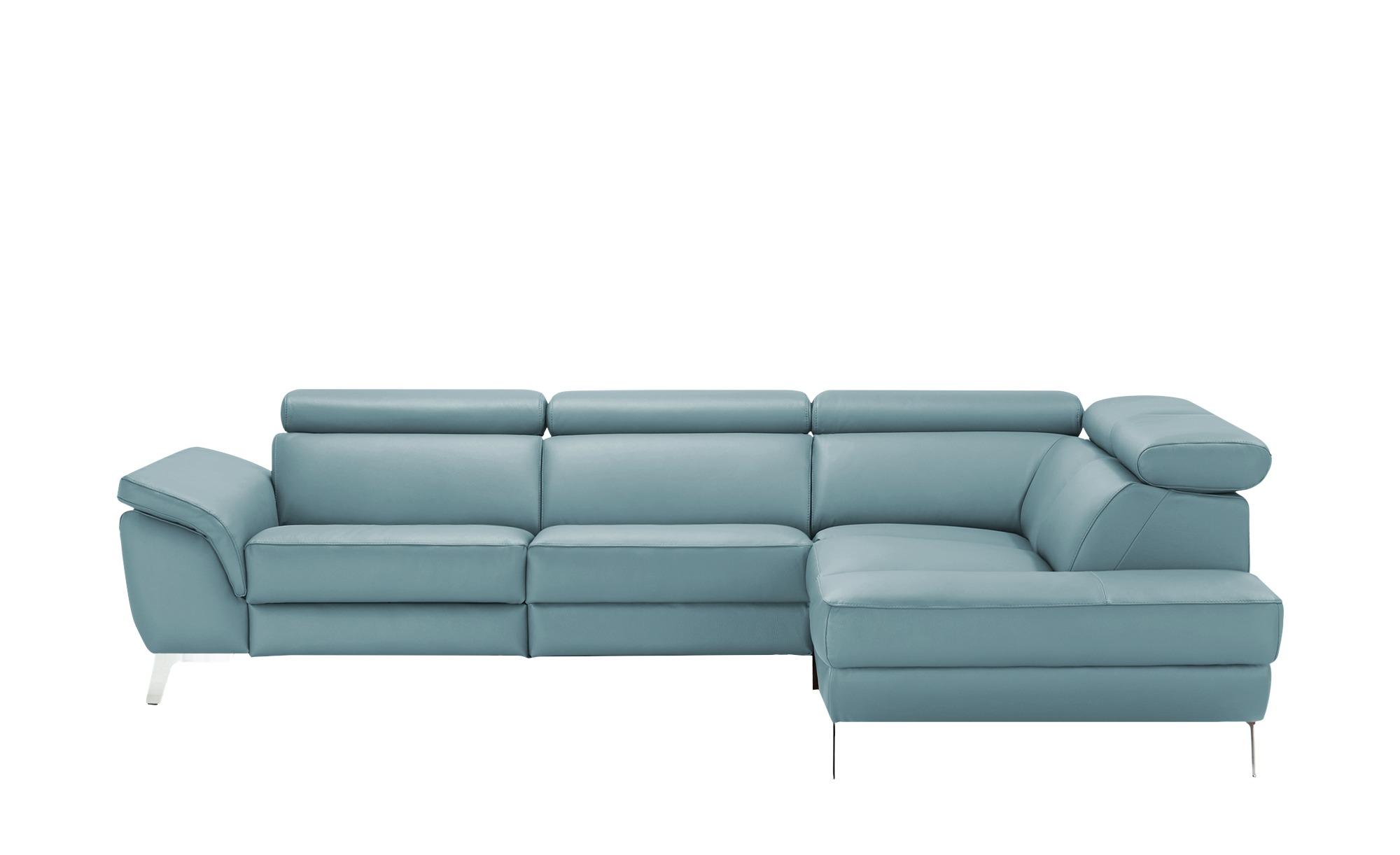 uno Ecksofa Leder  Dallas ¦ blau ¦ Maße (cm): H: 74 Polstermöbel > Sofas > Ecksofas - Höffner