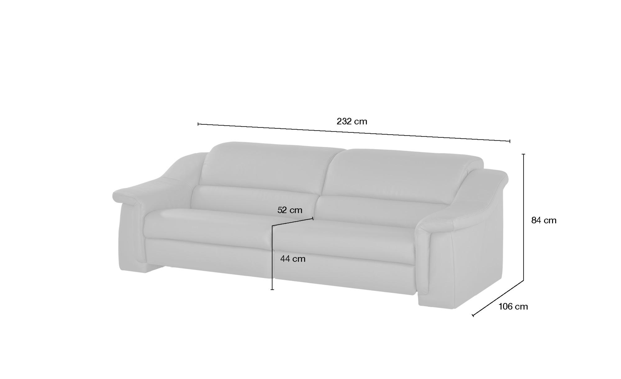 himolla Ledersofa  1501 ¦ schwarz ¦ Maße (cm): B: 232 H: 84 T: 106 Polstermöbel > Sofas > 3-Sitzer - Höffner