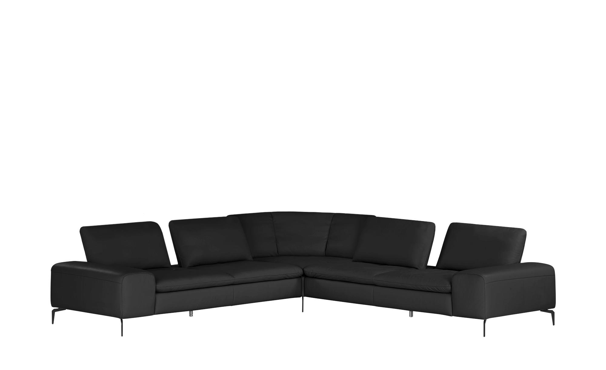 W.SCHILLIG Ecksofa Leder  Valentinoo ¦ schwarz ¦ Maße (cm): H: 83 Polstermöbel > Sofas > Ecksofas - Höffner
