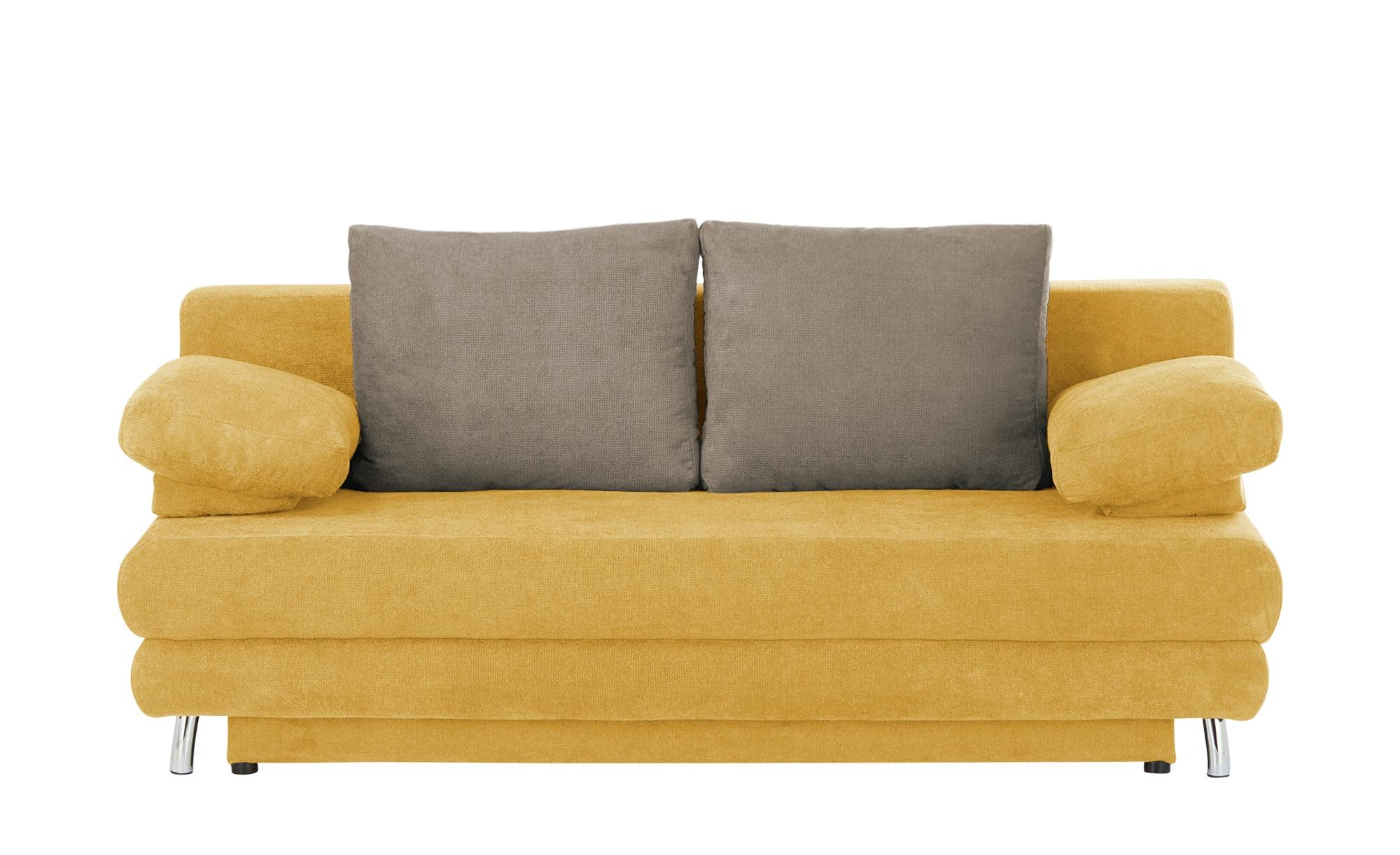 Schlafsofa  Calina ¦ gelb ¦ Maße (cm): B: 205 H: 80 T: 100 Polstermöbel > Sofas > 2-Sitzer - Höffner