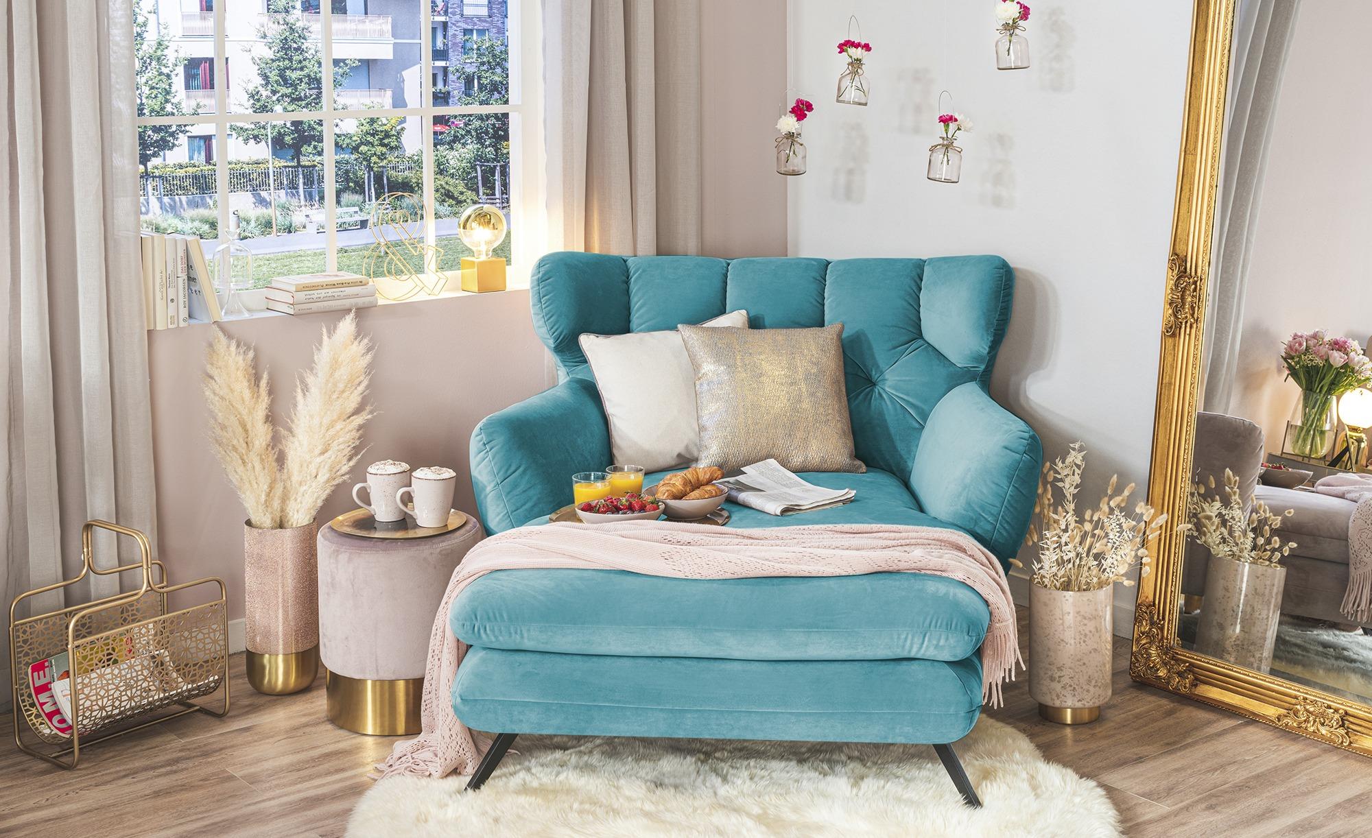 pop Longseat-Sessel  Caldara ¦ türkis/petrol ¦ Maße (cm): B: 126 H: 94 T: 160 Polstermöbel > Sessel > Ohrensessel - Höffner