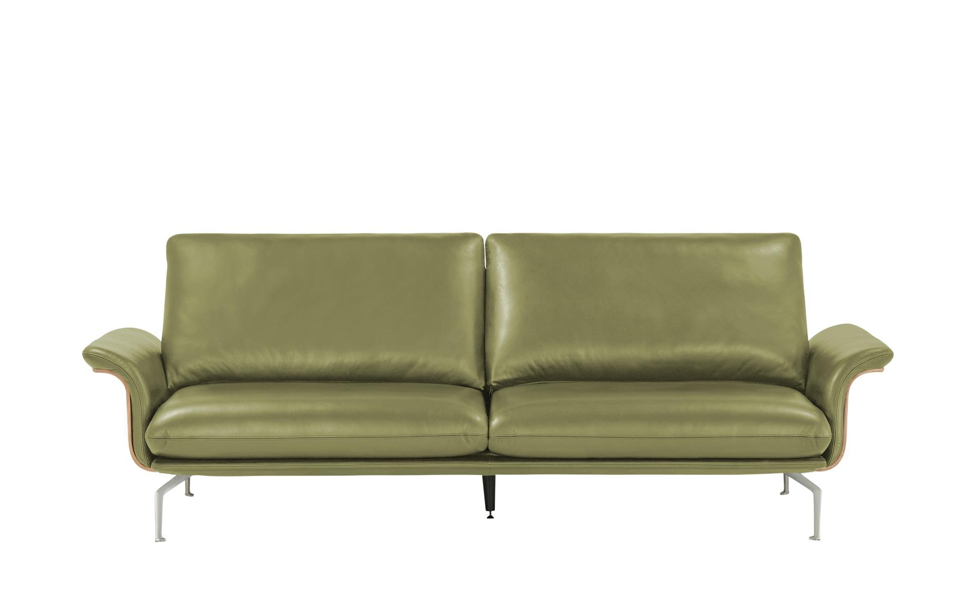 Nils Olsen Ledersofa  Alva ¦ grün ¦ Maße (cm): B: 244 H: 87 T: 101 Polstermöbel > Sofas > 3-Sitzer - Höffner