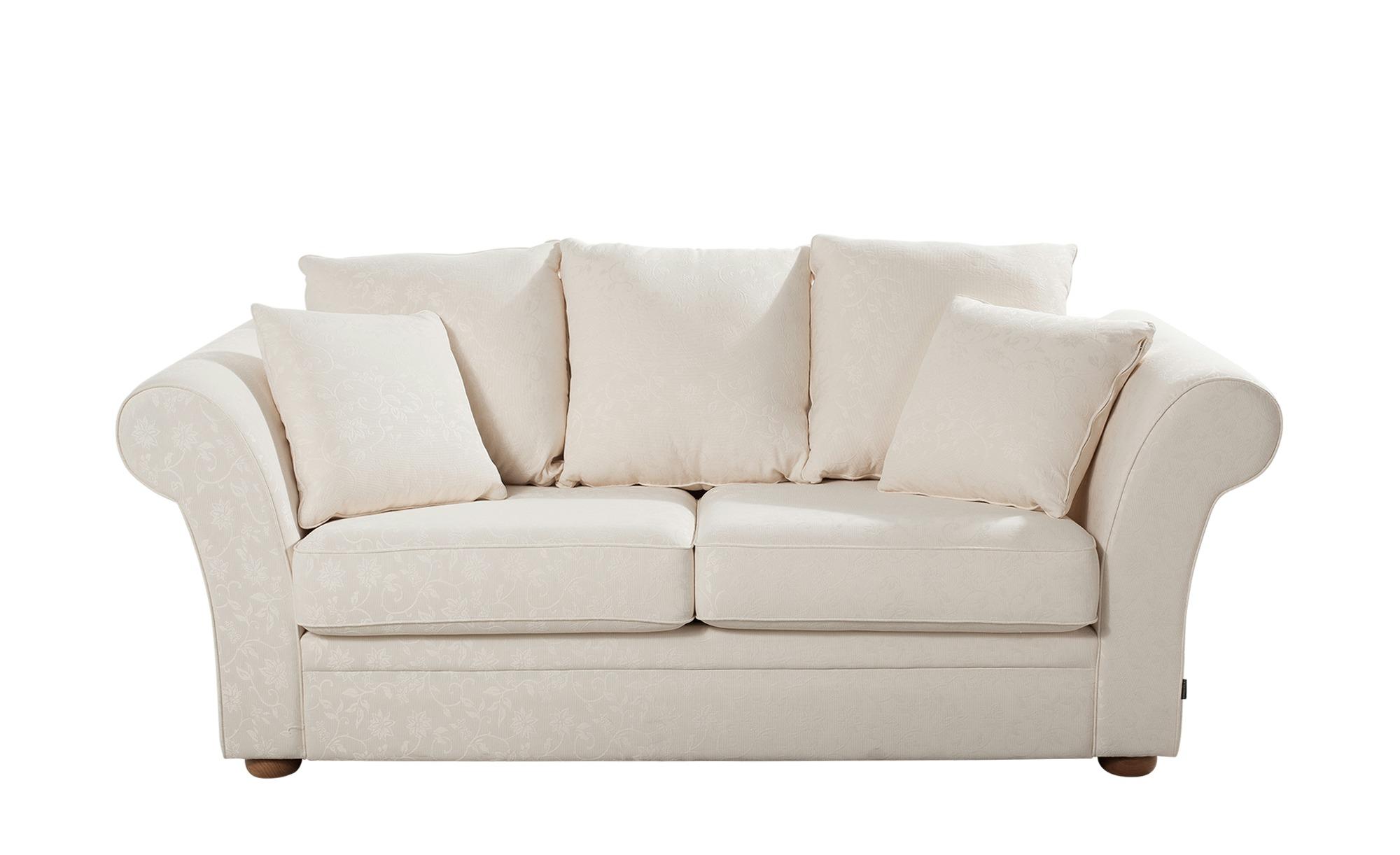 Landhaus-Sofa weiß - Flachgewebe Olivia ¦ weiß ¦ Maße (cm): B: 215 H: 100 T: 98 Polstermöbel > Sofas > Einzelsofas - Höffner