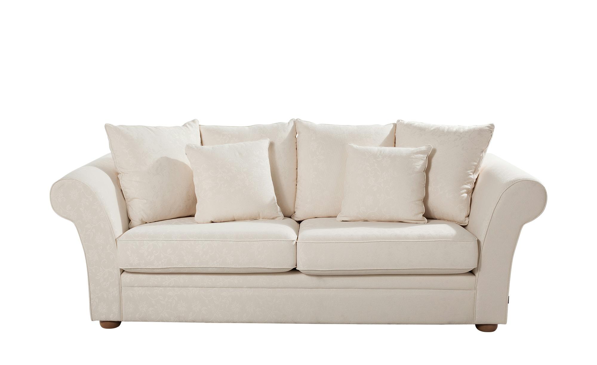 Landhaus-Sofa  weiß - Flachgewebe Olivia ¦ weiß ¦ Maße (cm): B: 240 H: 100 T: 98 Polstermöbel > Sofas > 3-Sitzer - Höffner