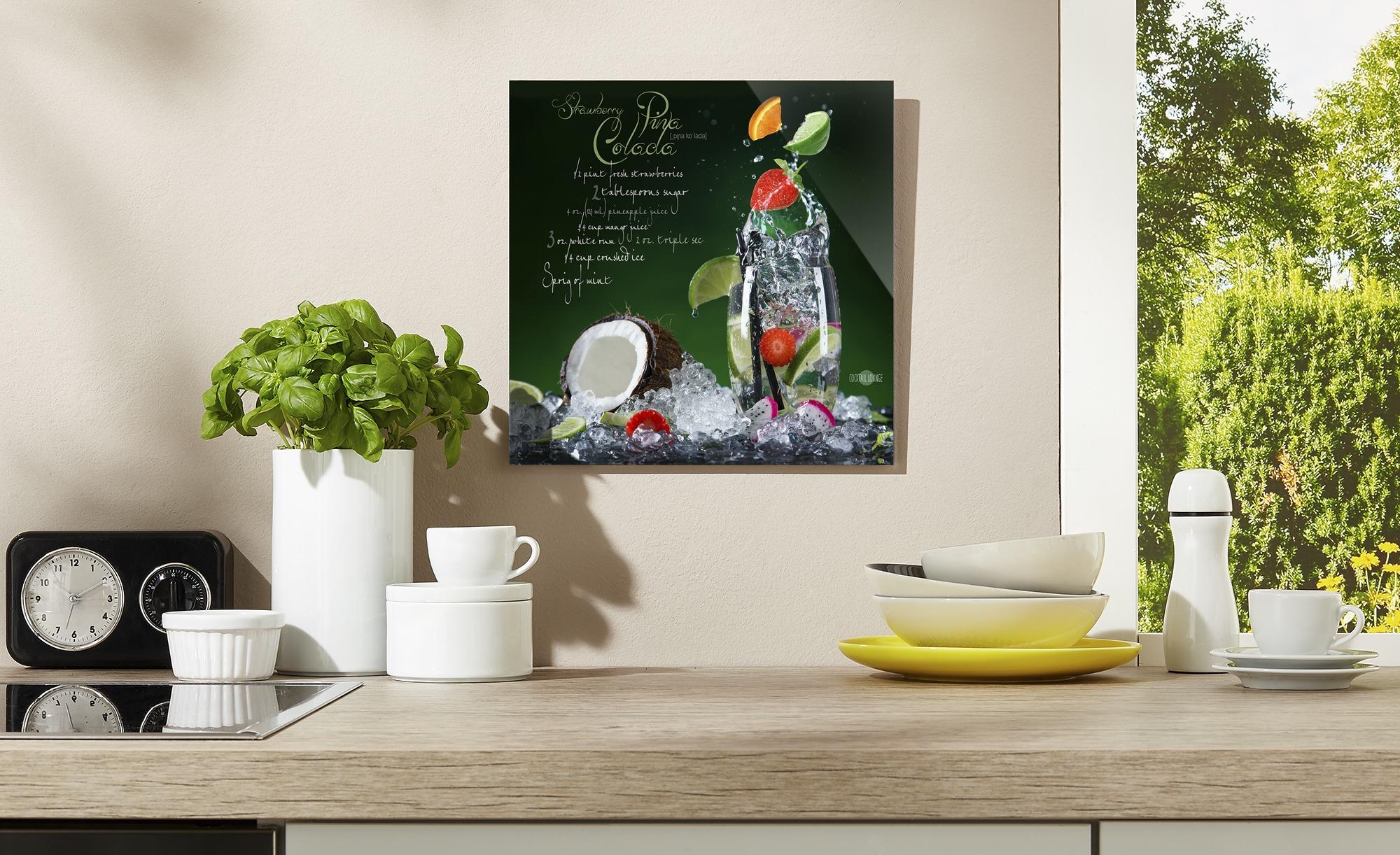 Glasbild   Pina Colada ¦ mehrfarbig ¦ Maße (cm): B: 20 H: 20 Dekoration > Bilder & Schilder - Höffner | Dekoration > Bilder und Rahmen > Bilder | Mehrfarbig | Glas | Möbel Höffner DE