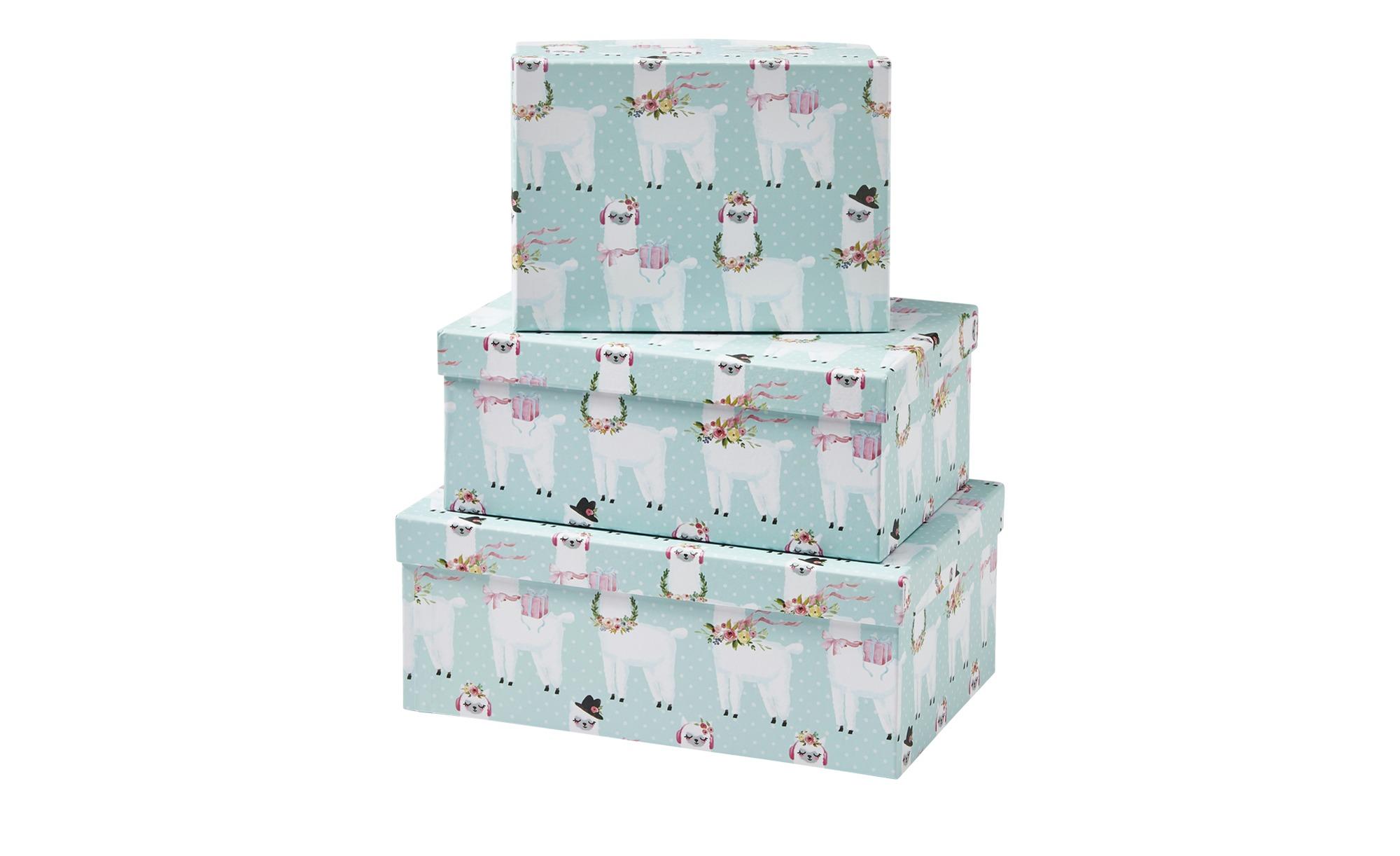 Aufbewahrungsboxen, 3er-Set   Alpaka ¦ blau ¦ Papier ¦ Maße (cm): B: 28,5 H: 19 T: 11 Regale > Regal-Aufbewahrungsboxen - Höffner