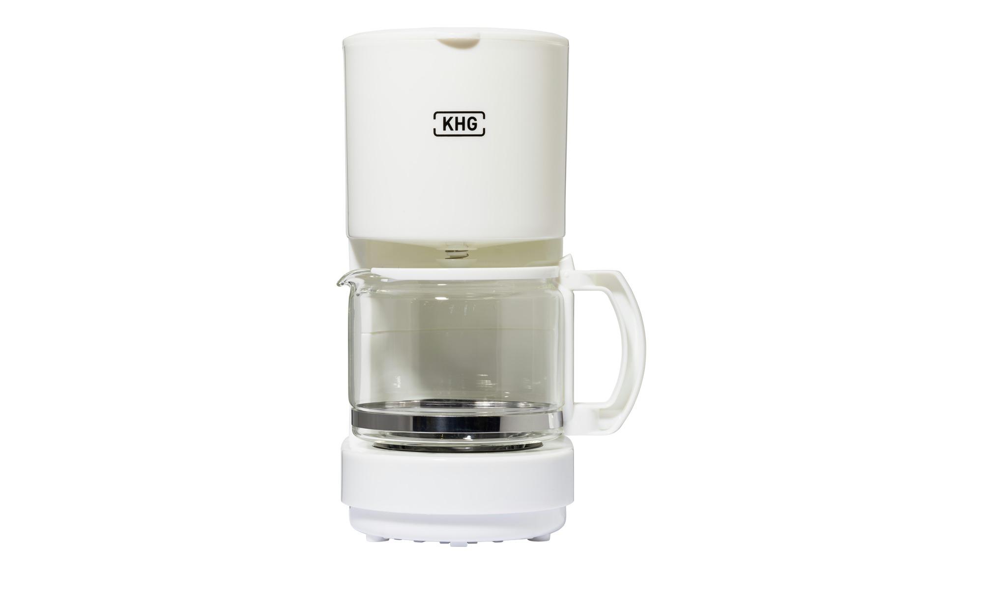 KHG Kaffeemaschine  KA-111 (W) ¦ weiß ¦ Glas , Kunststoff ¦ Maße (cm): B: 17,8 H: 25 T: 11,8 Elektrokleingeräte > Kaffee & Espressomaschinen - Höffner | Küche und Esszimmer > Kaffee und Tee > Espressomaschinen | Weiß | Glas - Kunststoff | Möbel Höffner DE