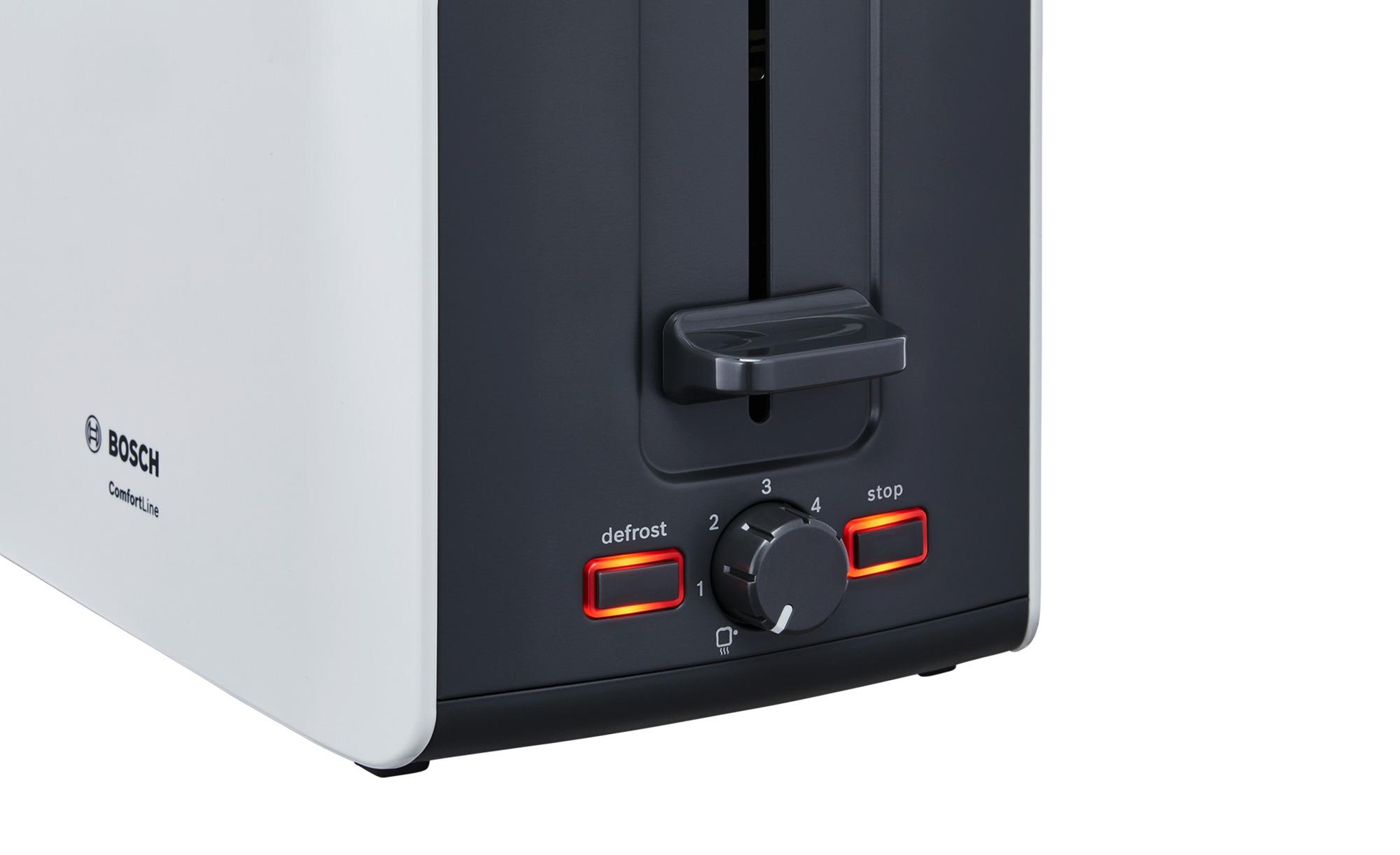 BOSCH Toaster  TAT 6A111 ¦ weiß ¦ Metall  Kunststoff ¦ Maße (cm): B: 30 7 H: 18 8 T: 17 Elektrokleingeräte > Toaster - Höffner   Küche und Esszimmer > Küchengeräte > Toaster   Möbel Höffner DE