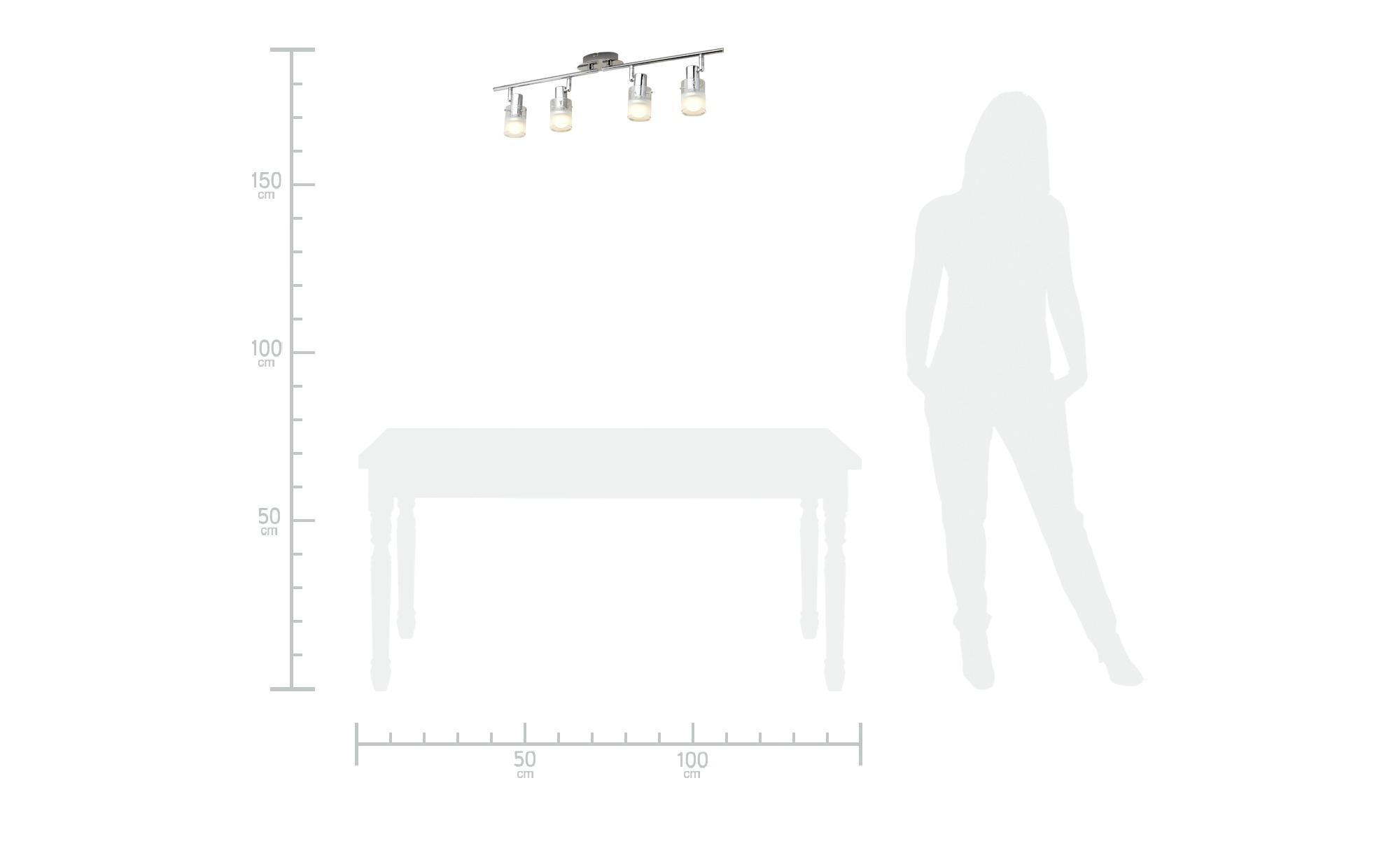 KHG LED- Deckenstrahler, 4-flammig mit Glas ¦ silber ¦ Maße (cm): B: 13,5 H: 8 Lampen & Leuchten > LED-Leuchten > LED-Strahler & Spots - Höffner