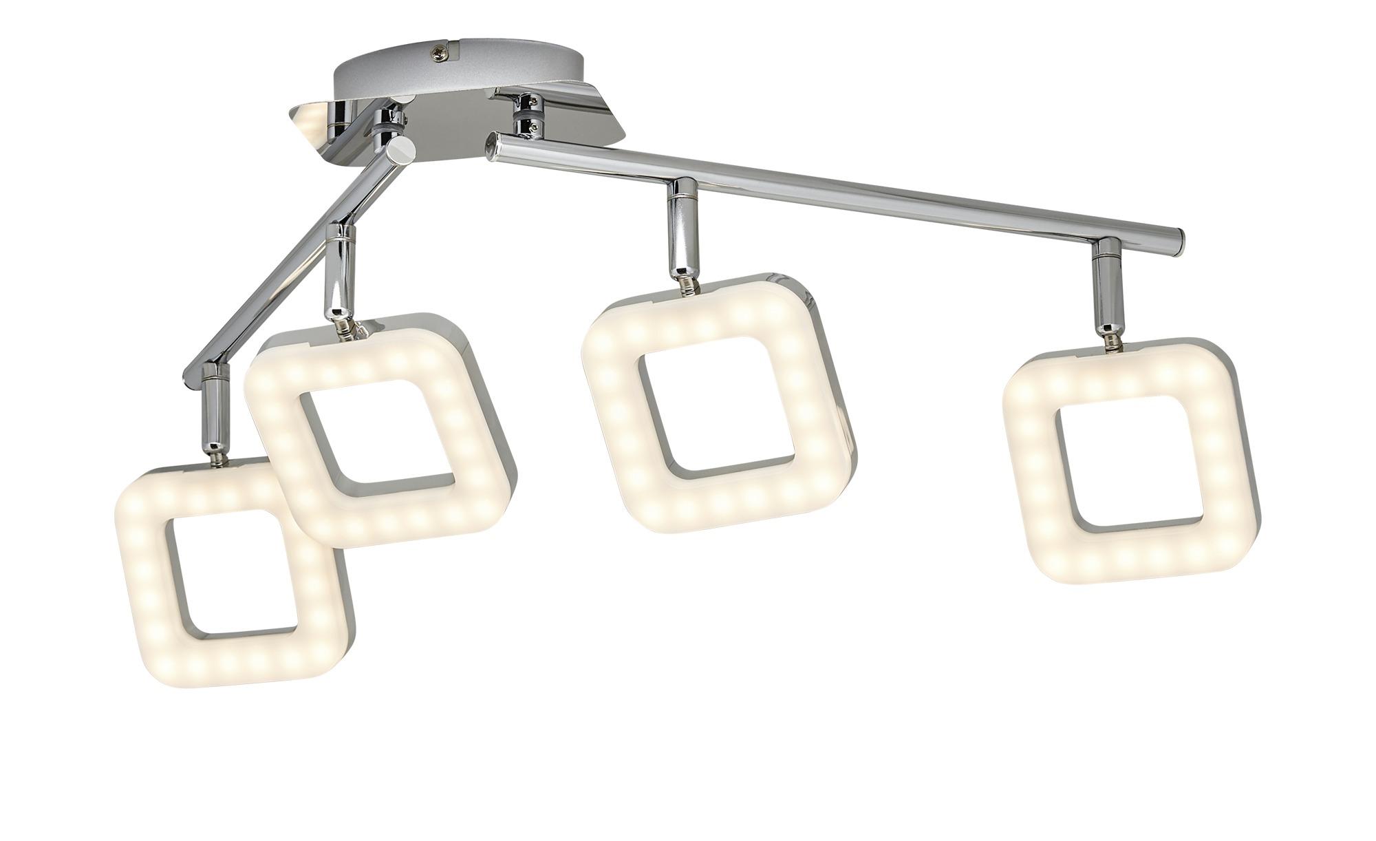 KHG LED-Deckenleuchte, 4-flammig, Köpfe eckig ¦ silber ¦ Maße (cm): B: 10 H: 19 T: 19 Lampen & Leuchten > Innenleuchten > Deckenleuchten - Höffner