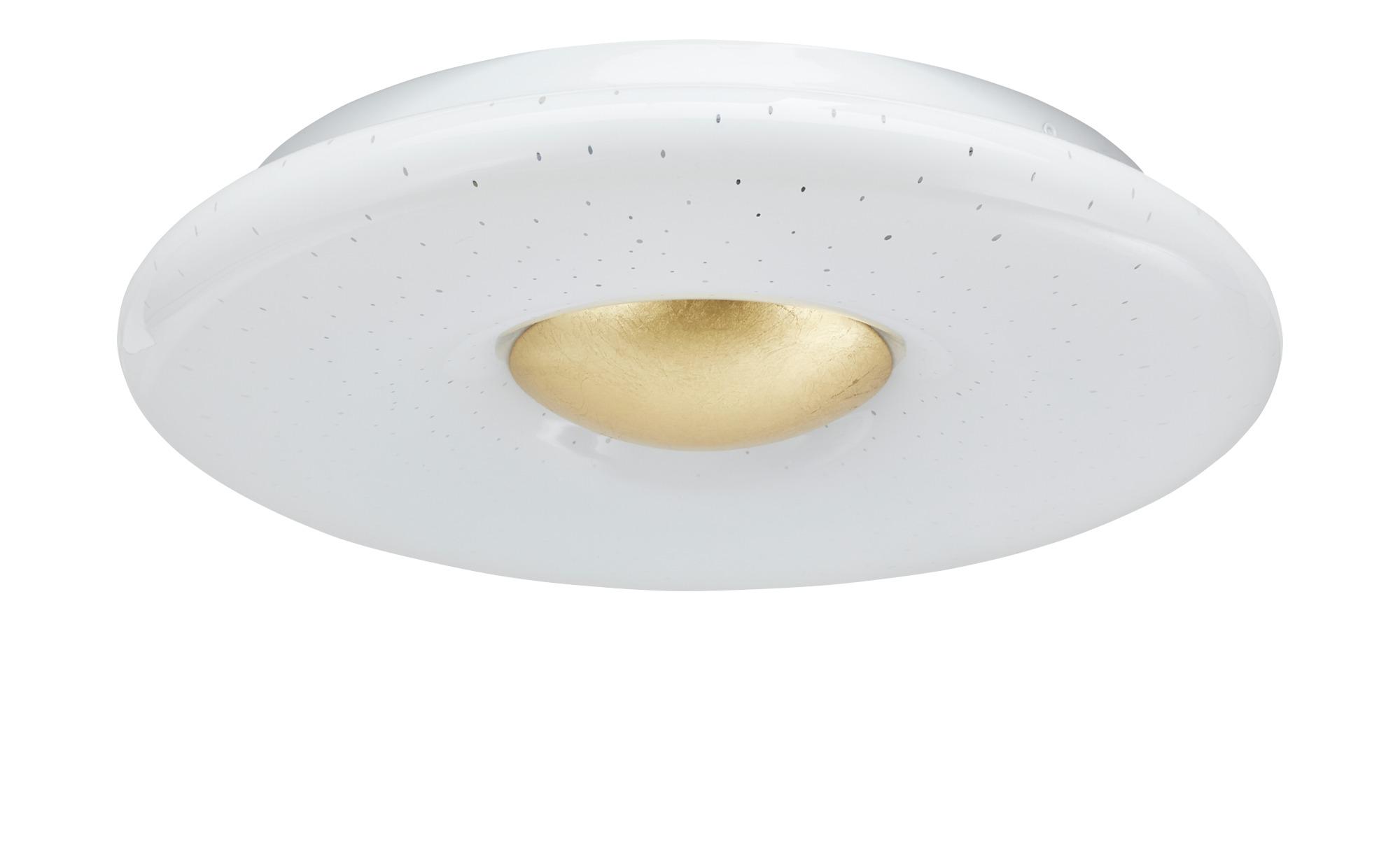 KHG LED-Deckenleuchte, Weiß / Gold ¦ weiß ¦ Maße (cm): H: 6,5 Ø: 40 Lampen & Leuchten > Innenleuchten > Deckenleuchten - Höffner