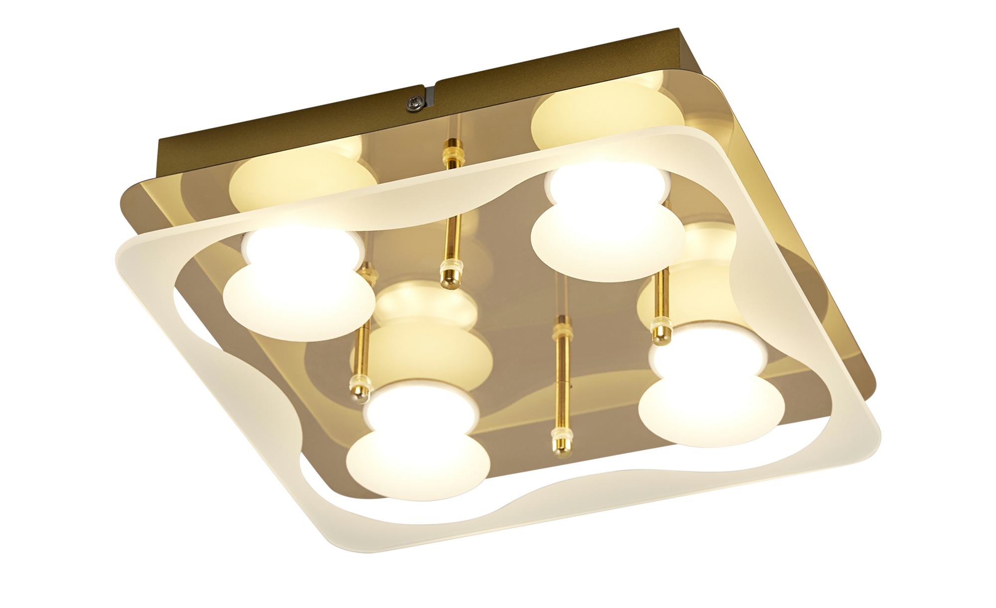KHG LED-Deckenleuchte, 4-flammig, messing ¦ gold ¦ Maße (cm): B: 25 H: 6 Lampen & Leuchten > Innenleuchten > Deckenleuchten - Höffner
