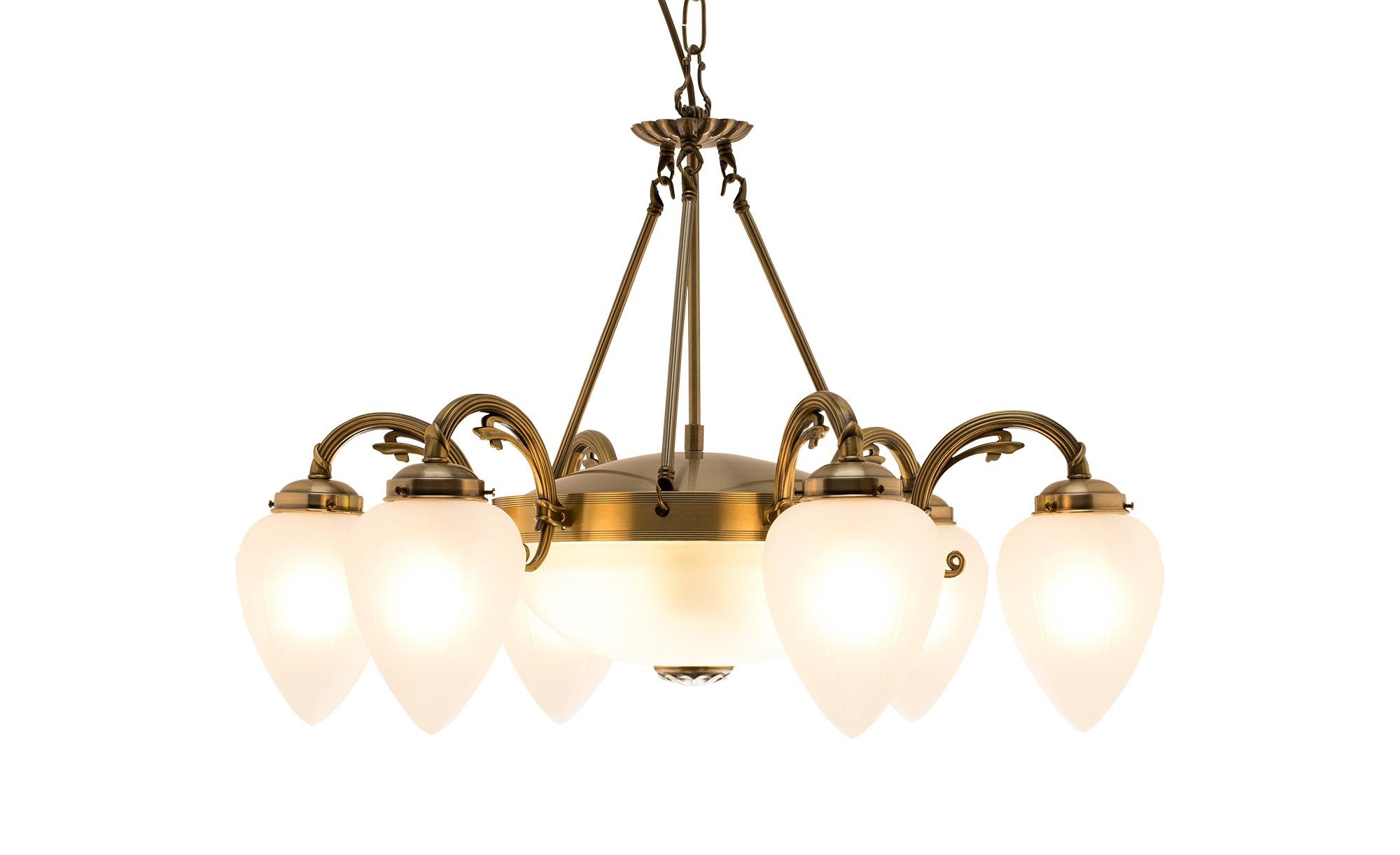 KHG Kronleuchter messing matt 8-flammig ¦ gold ¦ Maße (cm): H: 146 Ø: 74 Lampen & Leuchten > Innenleuchten > Kronleuchter - Höffner