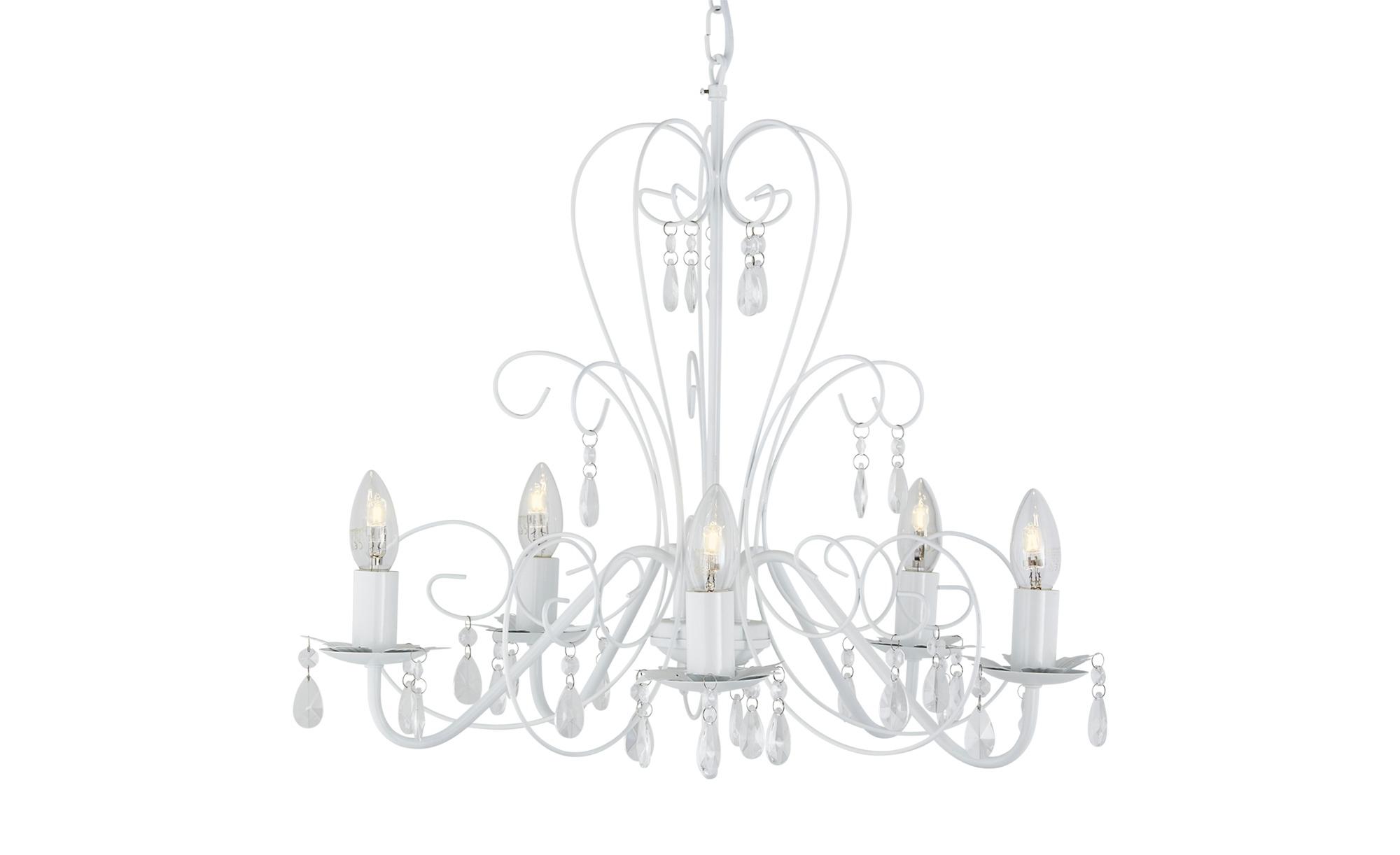 Kronleuchter 5-flammig weiß Kerzenoptik ¦ weiß ¦ Maße (cm): H: 50 Ø: [54.0] Lampen & Leuchten > Innenleuchten > Kronleuchter - Höffner