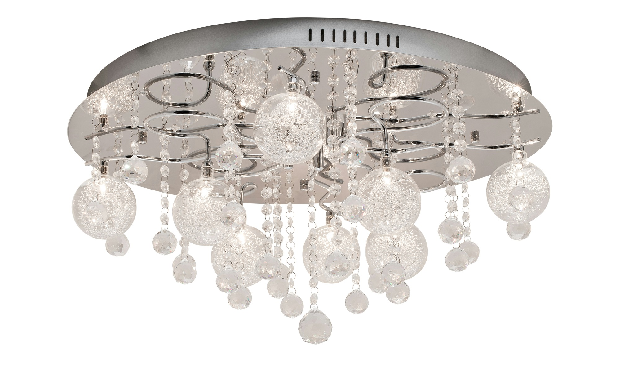 Paul Neuhaus Deckenleuchte rund mit 8 Glaskugeln ¦ silber ¦ Maße (cm): H: 34 Ø: [60.0] Lampen & Leuchten > Innenleuchten > Deckenleuchten - Höffner