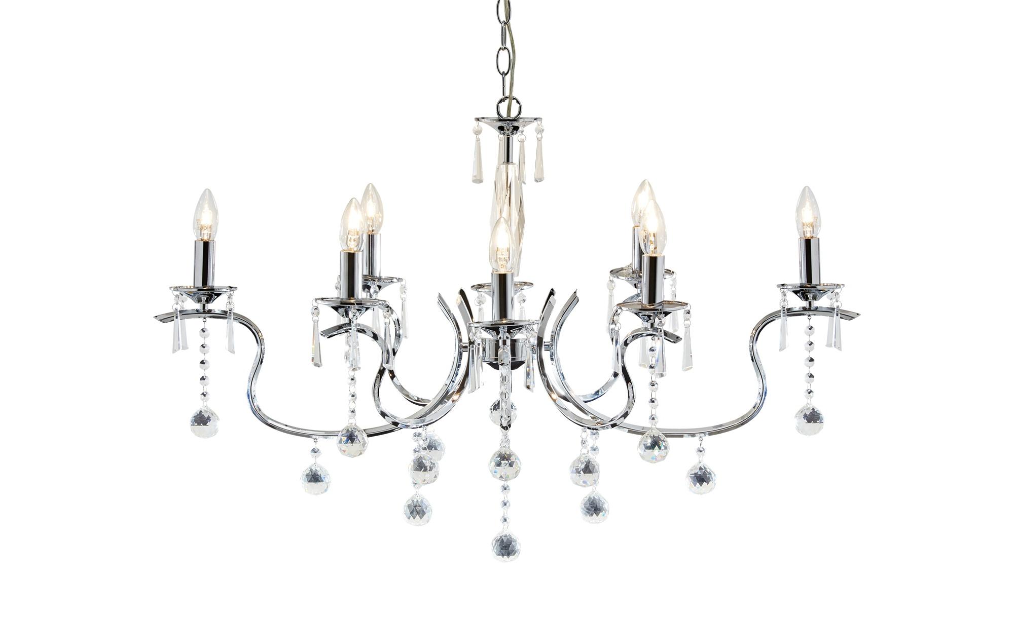 Krone, 8-flammig, chorm mit Glasbehang ¦ silber ¦ Maße (cm): B: 94 H: 57 Lampen & Leuchten > Innenleuchten > Kronleuchter - Höffner