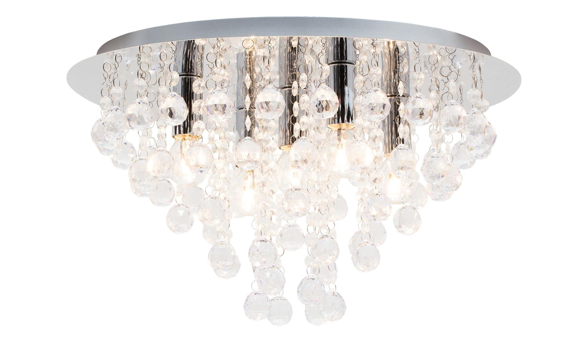 Deckenleuchte rund mit Glaselementen ¦ silber ¦ Maße (cm): H: 22 Ø: 46 Lampen & Leuchten > Innenleuchten > Deckenleuchten - Höffner