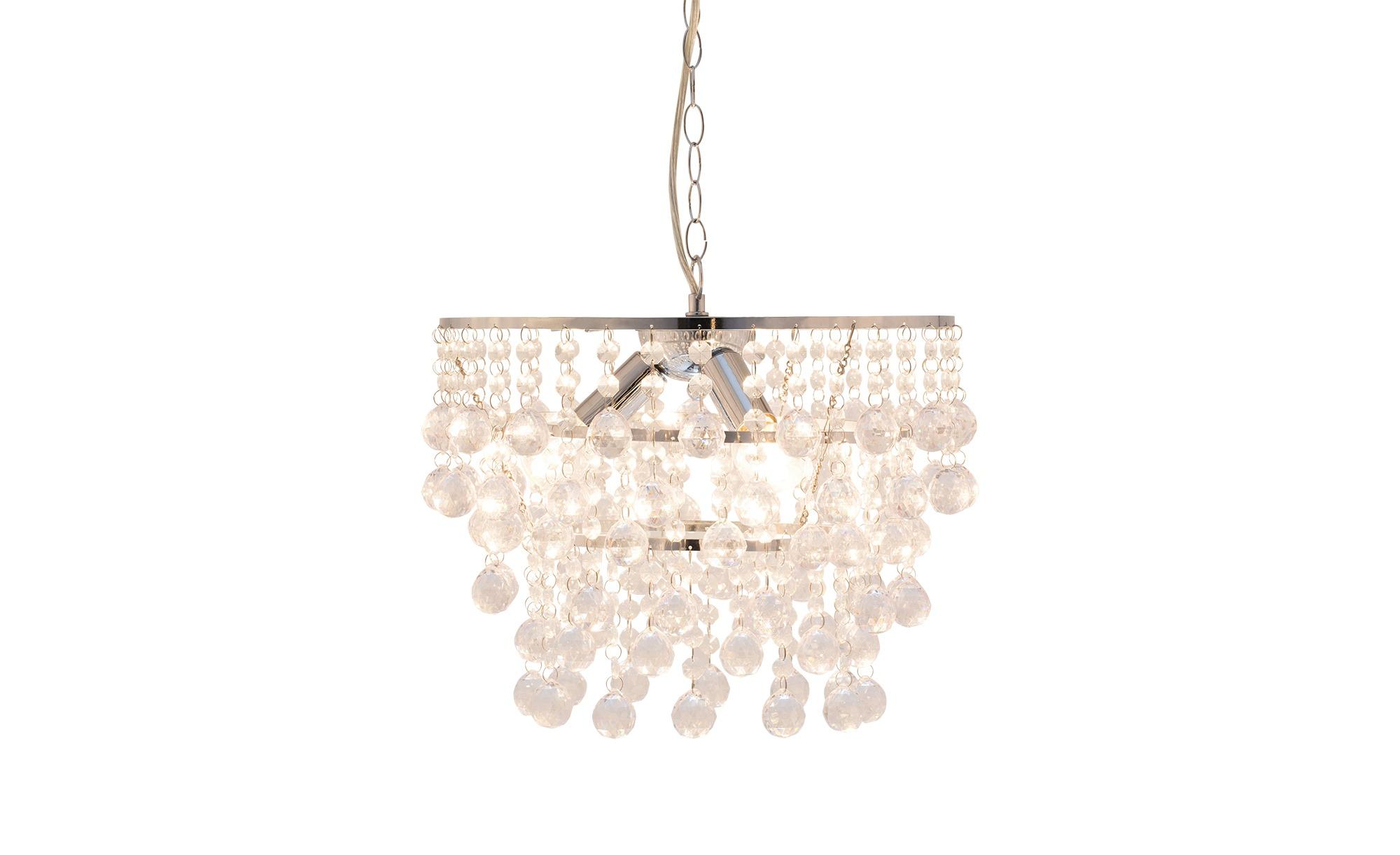 Pendelleuchte mit geschliffenem Glasbehang ¦ silber ¦ Maße (cm): H: 27 Ø: 35 Lampen & Leuchten > Innenleuchten > Pendelleuchten - Höffner
